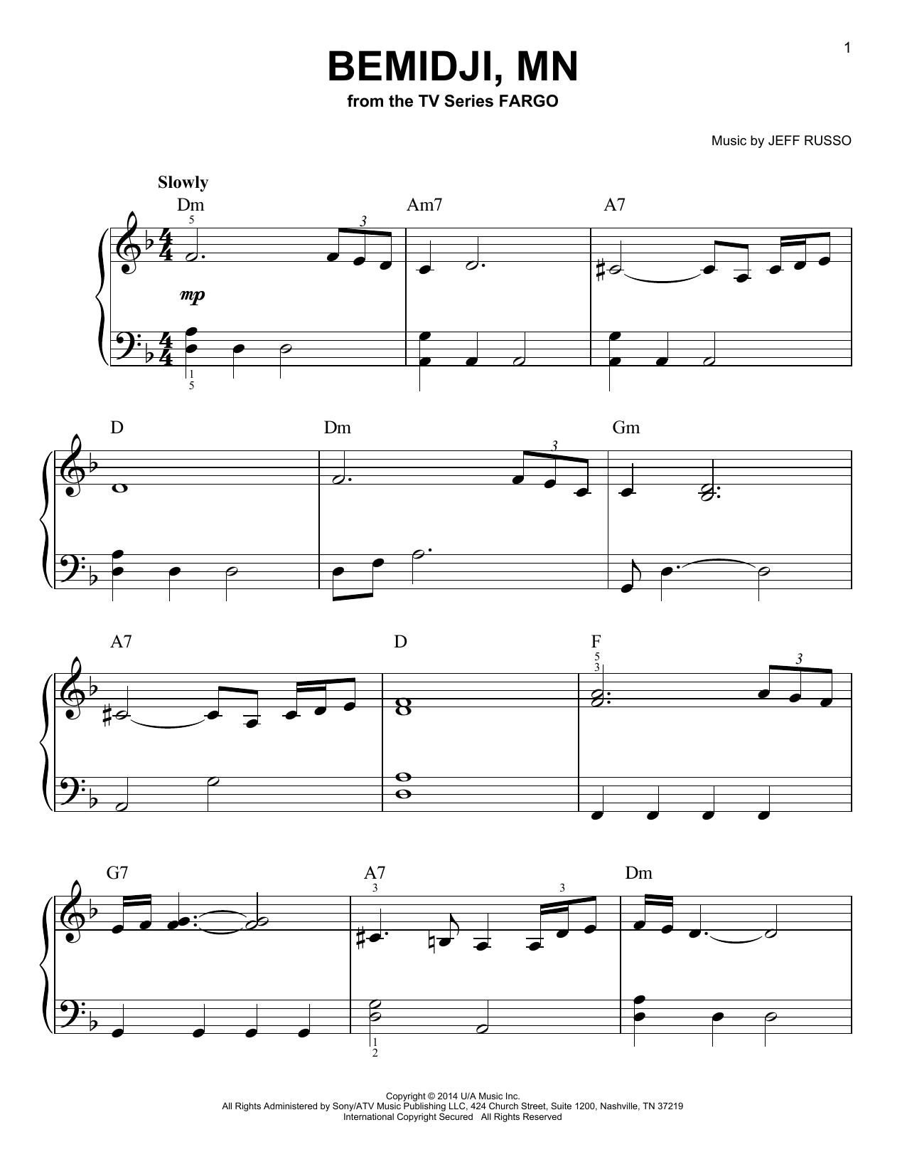 Bemidji, MN (from Fargo) (Very Easy Piano)