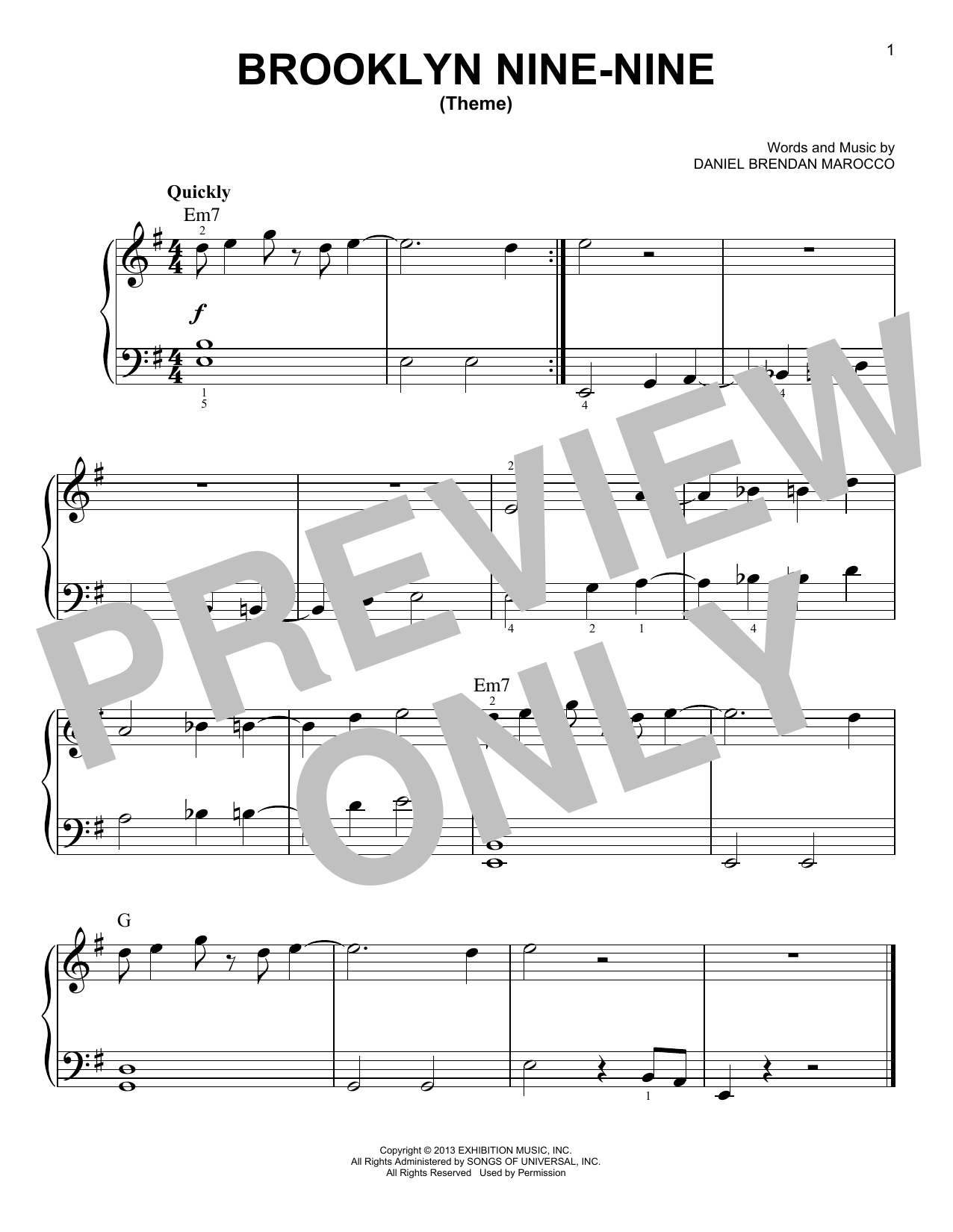 Brooklyn Nine-Nine (Theme) (Very Easy Piano)