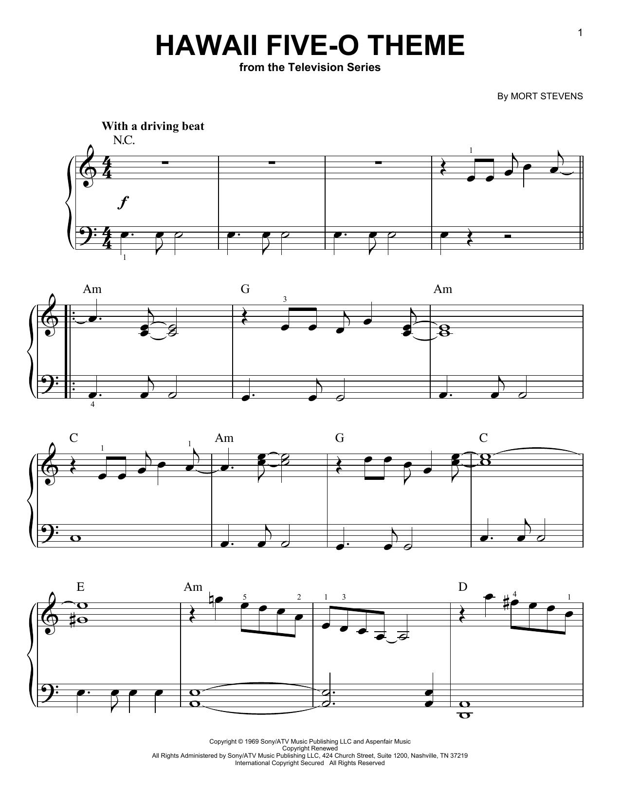 Hawaii Five-O Theme (Very Easy Piano)