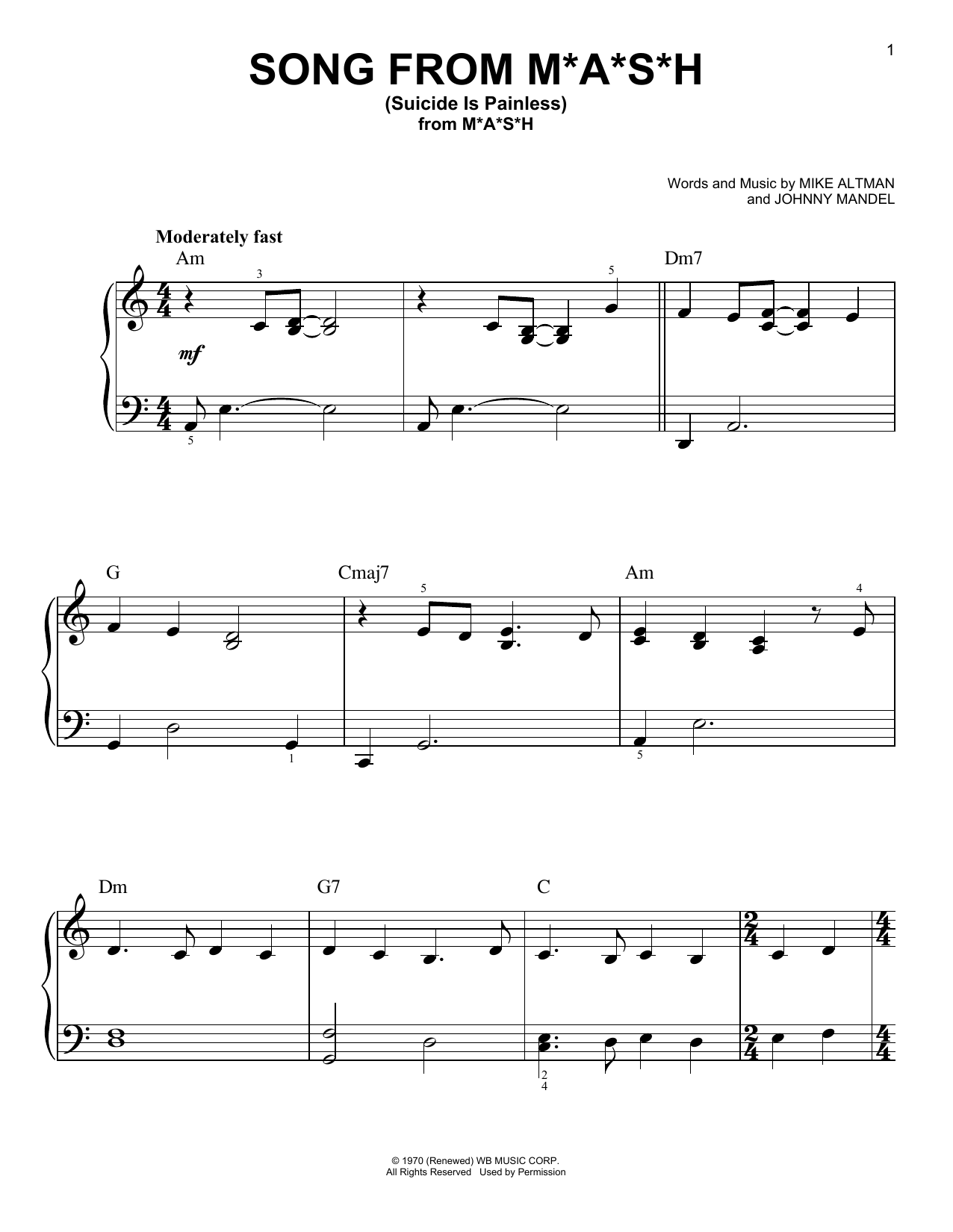 Song From M*A*S*H (Suicide Is Painless) (Very Easy Piano)