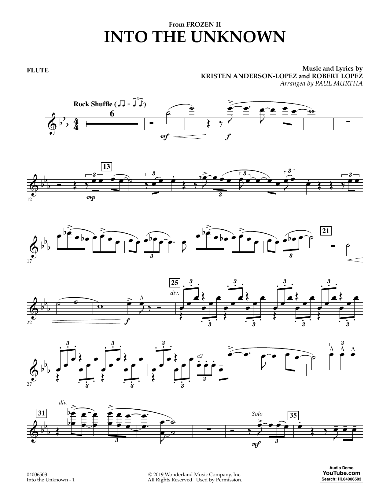 Into the Unknown (from Disney's Frozen 2) (arr. Paul Murtha) - Flute Sheet Music
