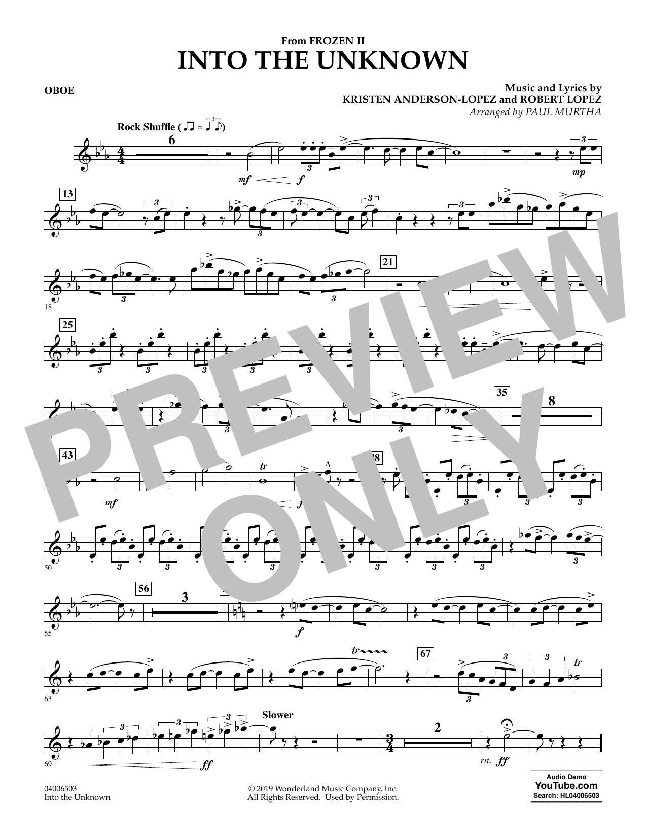 Into the Unknown (from Disney's Frozen 2) (arr. Paul Murtha) - Oboe Sheet Music