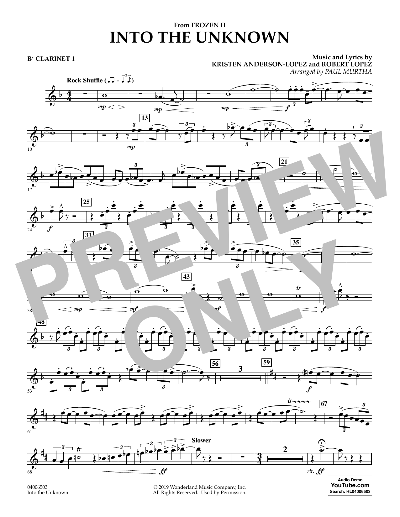 Into the Unknown (from Disney's Frozen 2) (arr. Paul Murtha) - Bb Clarinet 1 Sheet Music