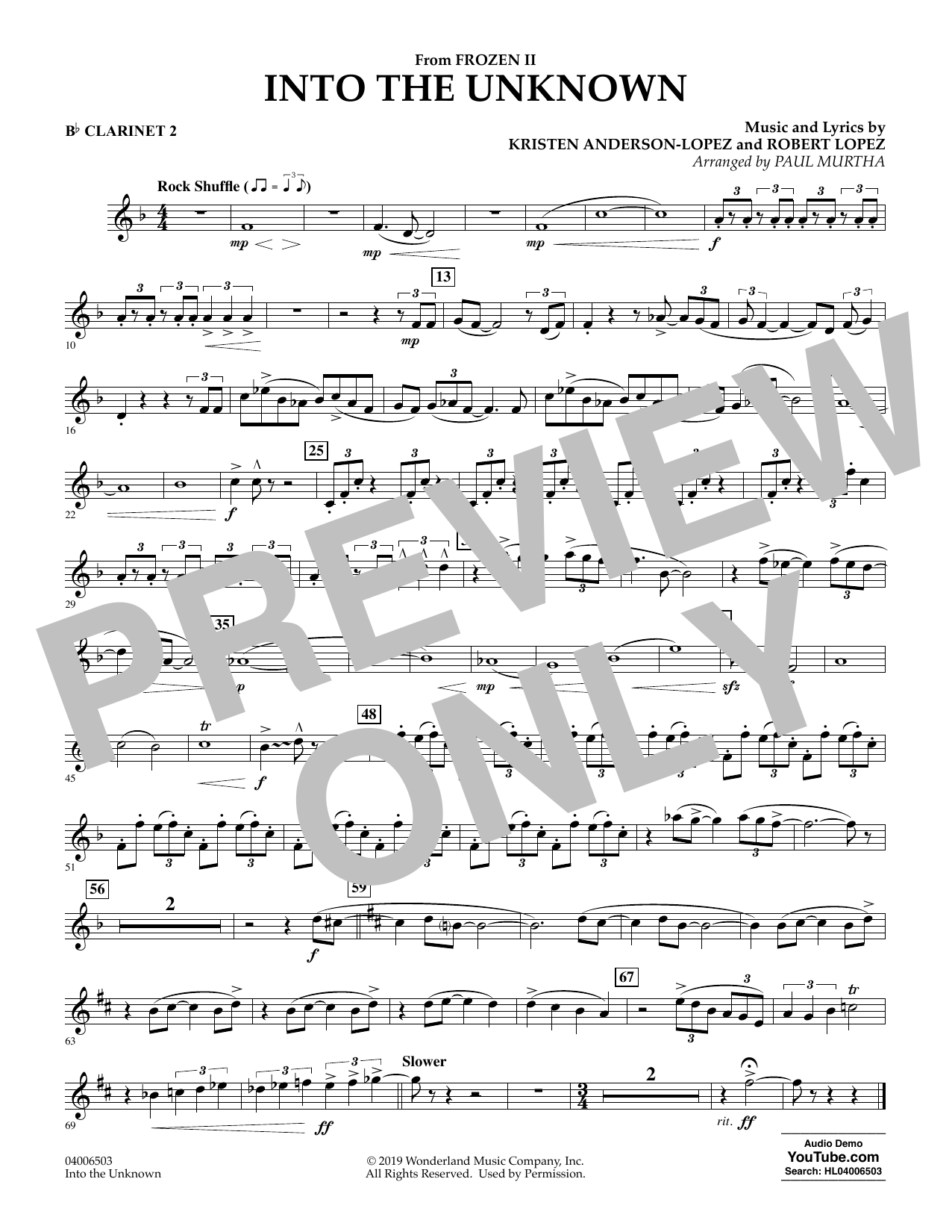 Into the Unknown (from Disney's Frozen 2) (arr. Paul Murtha) - Bb Clarinet 2 Sheet Music