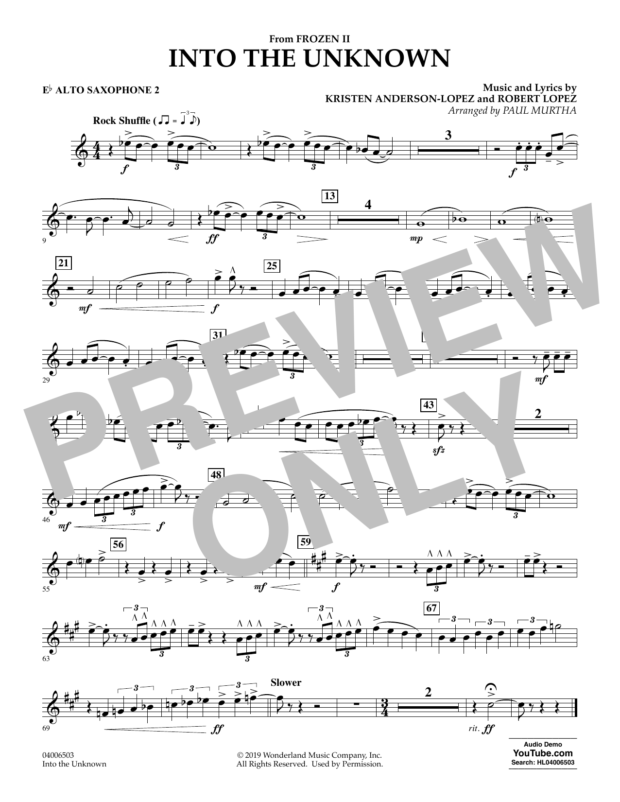 Into the Unknown (from Disney's Frozen 2) (arr. Paul Murtha) - Eb Alto Saxophone 2 Sheet Music