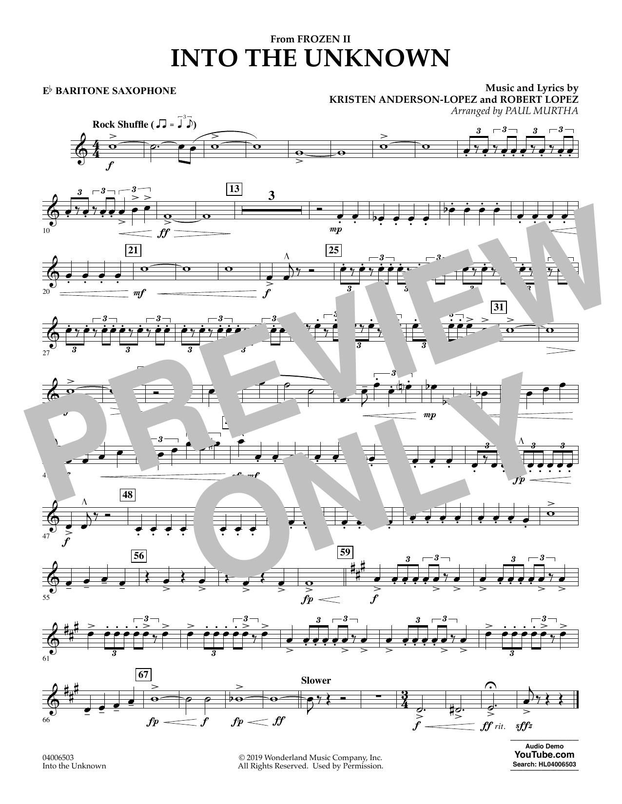 Into the Unknown (from Disney's Frozen 2) (arr. Paul Murtha) - Eb Baritone Saxophone Sheet Music