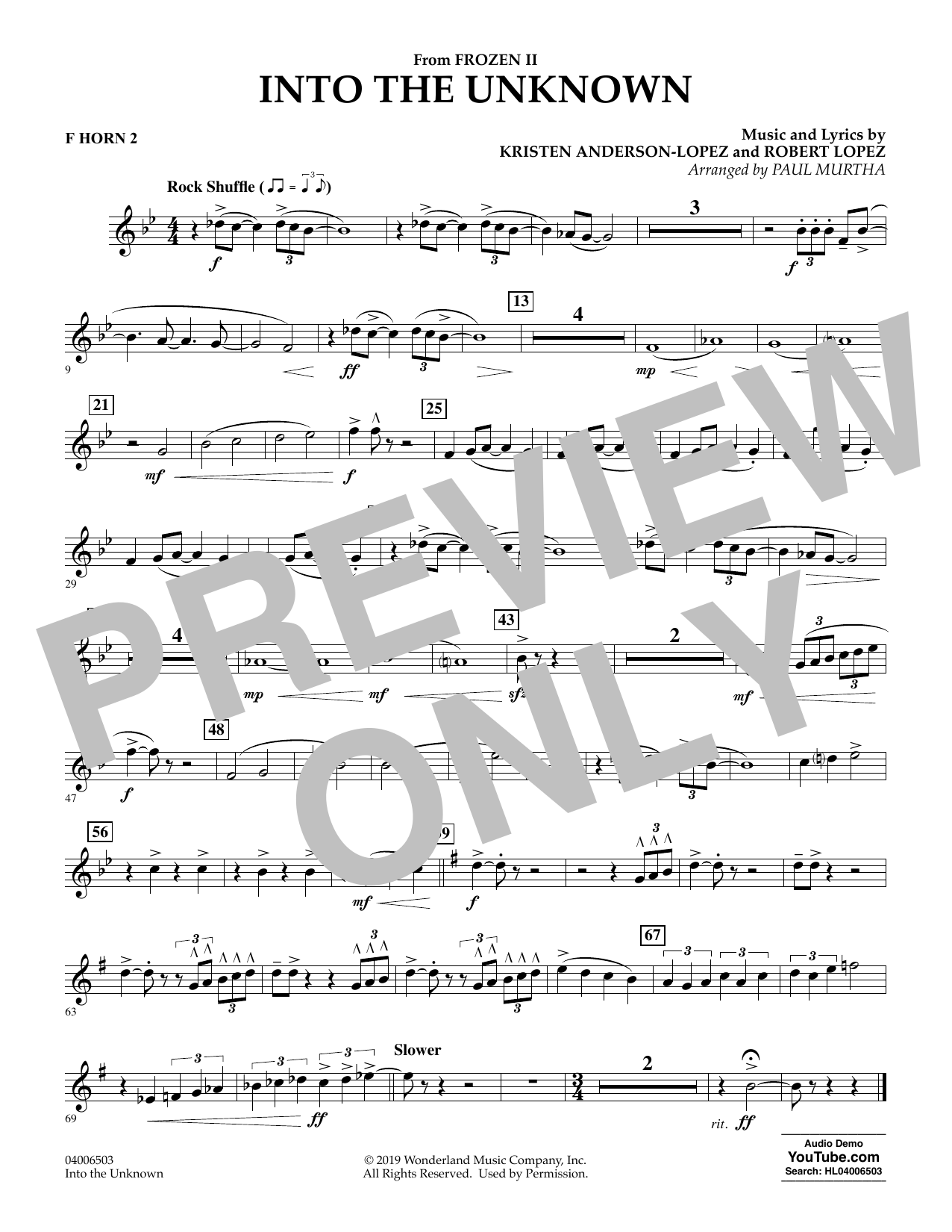 Into the Unknown (from Disney's Frozen 2) (arr. Paul Murtha) - F Horn 2 Sheet Music