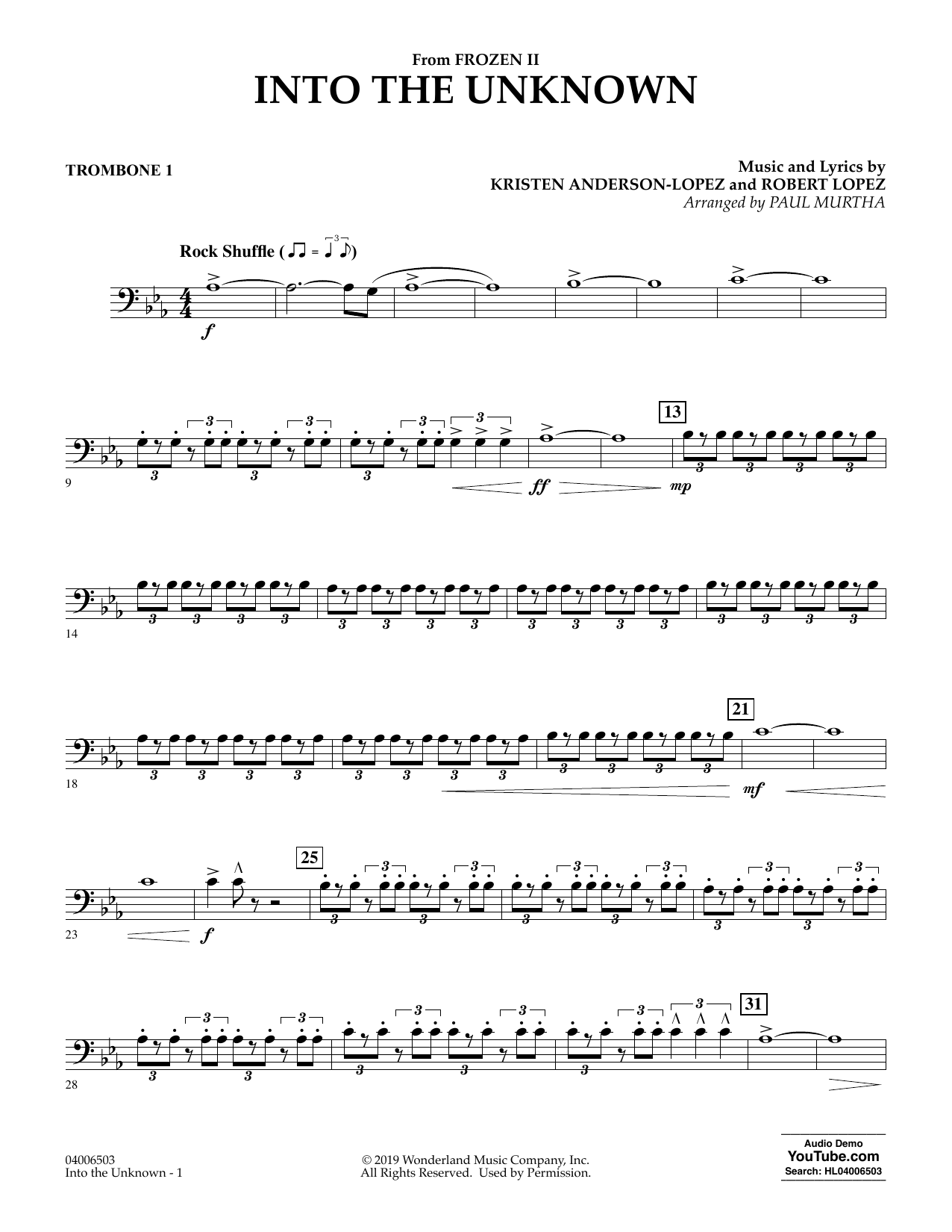 Into the Unknown (from Disney's Frozen 2) (arr. Paul Murtha) - Trombone 1 Sheet Music