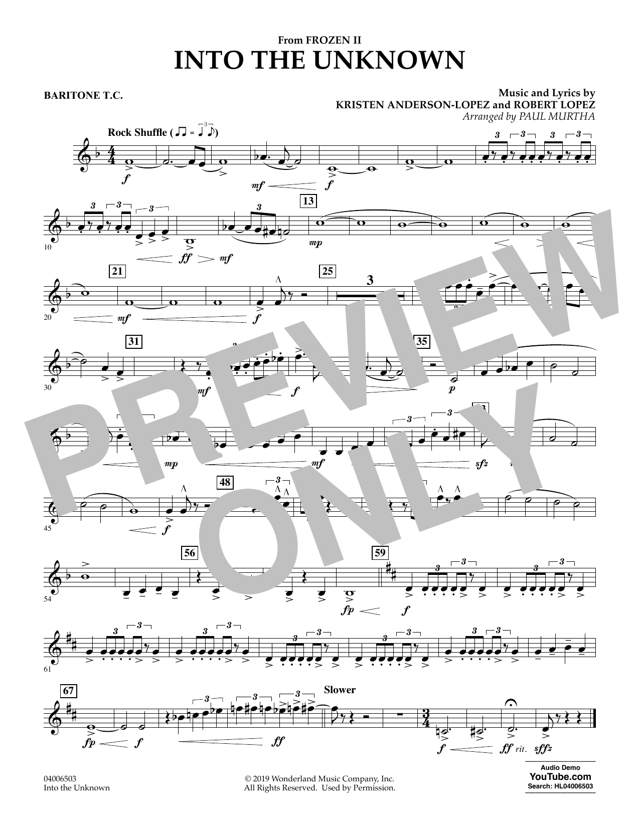 Into the Unknown (from Disney's Frozen 2) (arr. Paul Murtha) - Baritone T.C. Sheet Music