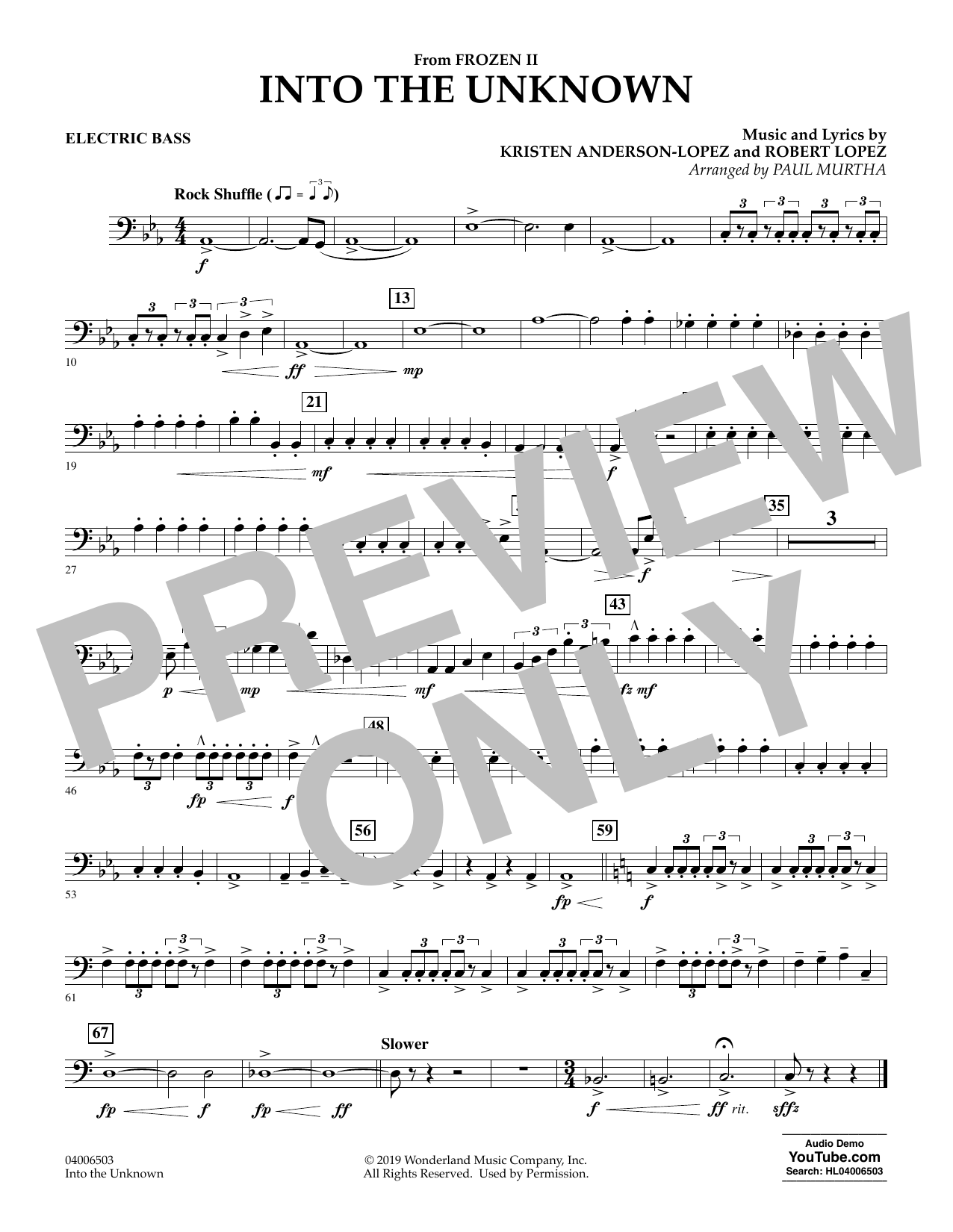 Into the Unknown (from Disney's Frozen 2) (arr. Paul Murtha) - Electric Bass Sheet Music