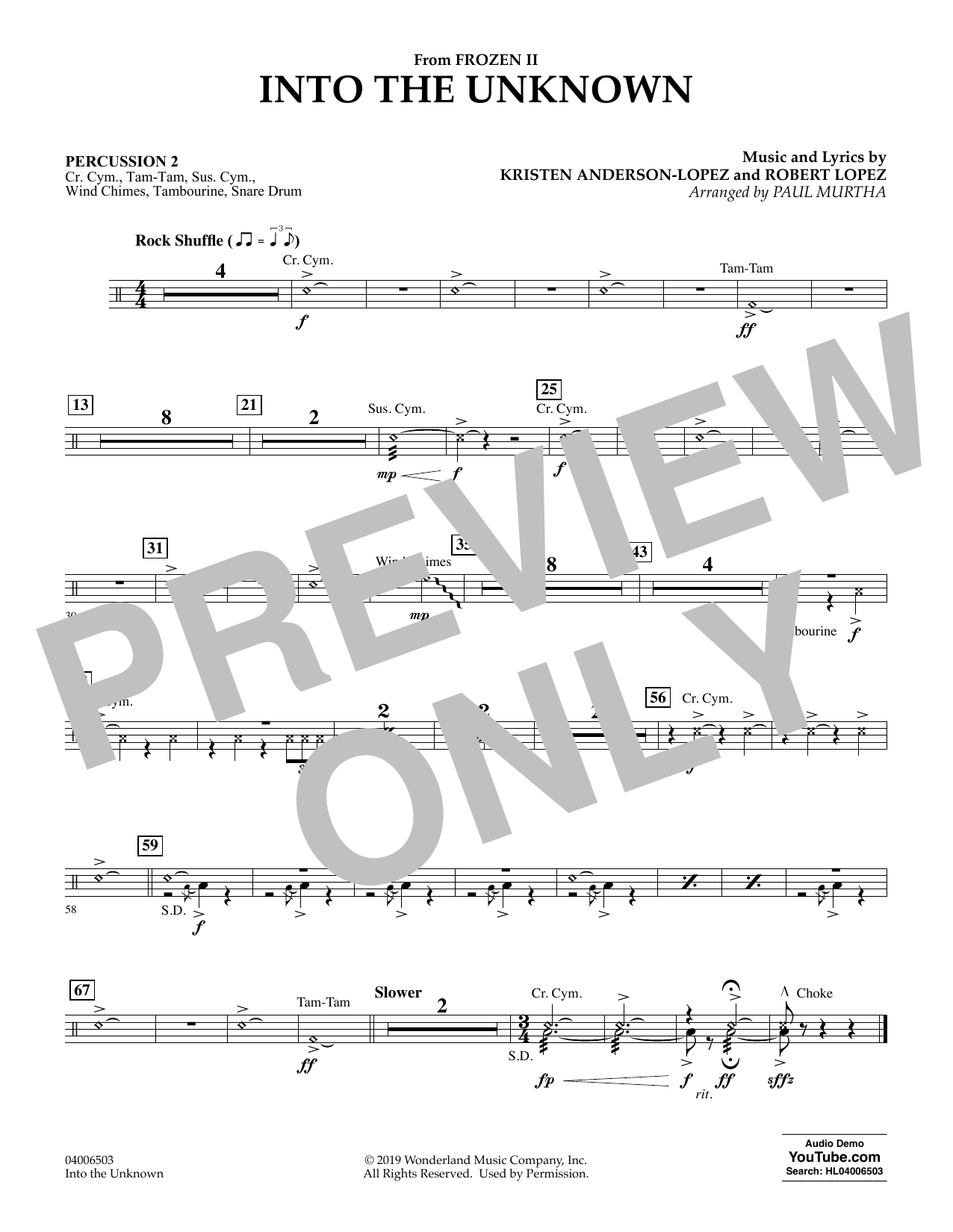 Into the Unknown (from Disney's Frozen 2) (arr. Paul Murtha) - Percussion 2 Sheet Music