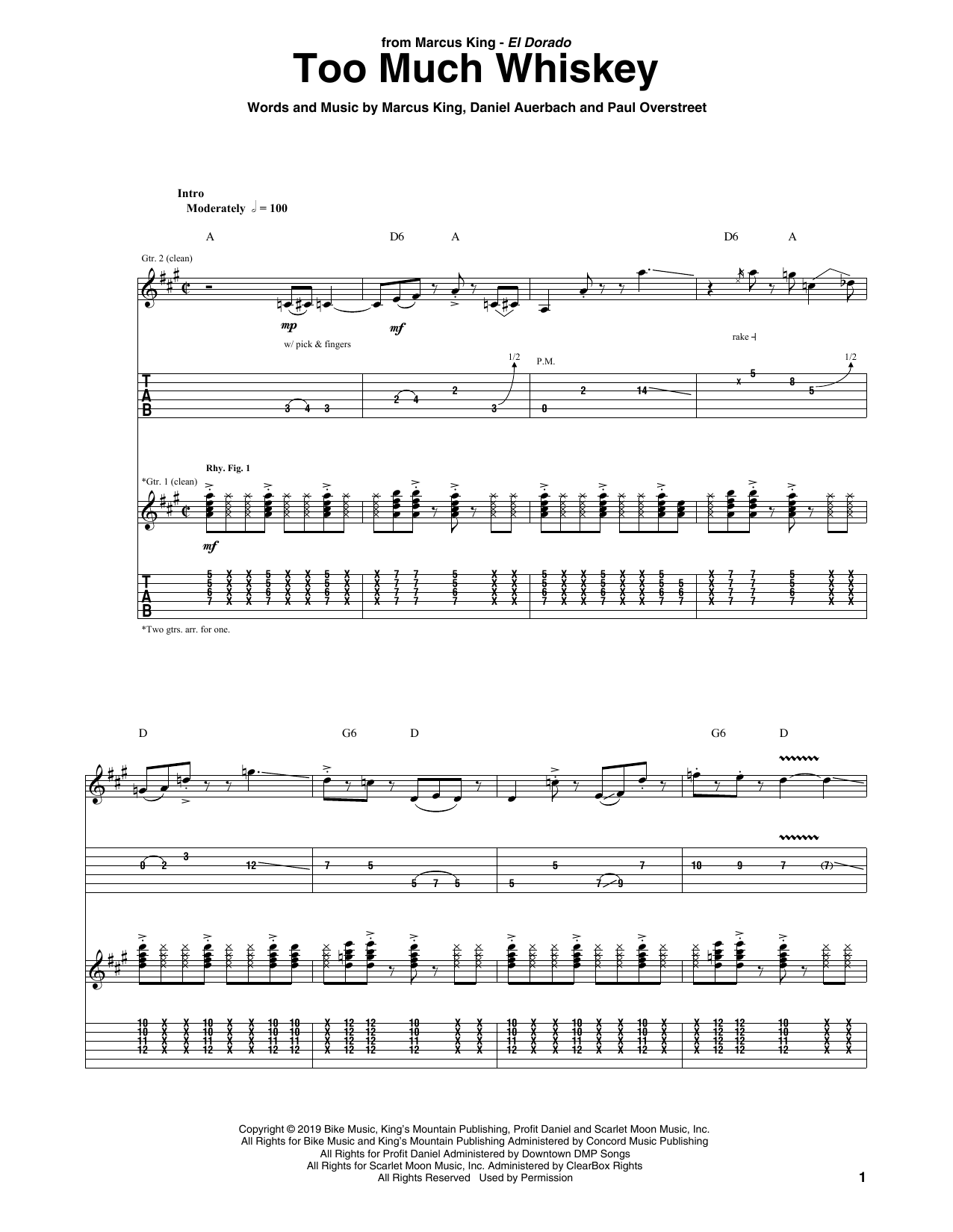 Too Much Whiskey (Guitar Tab)