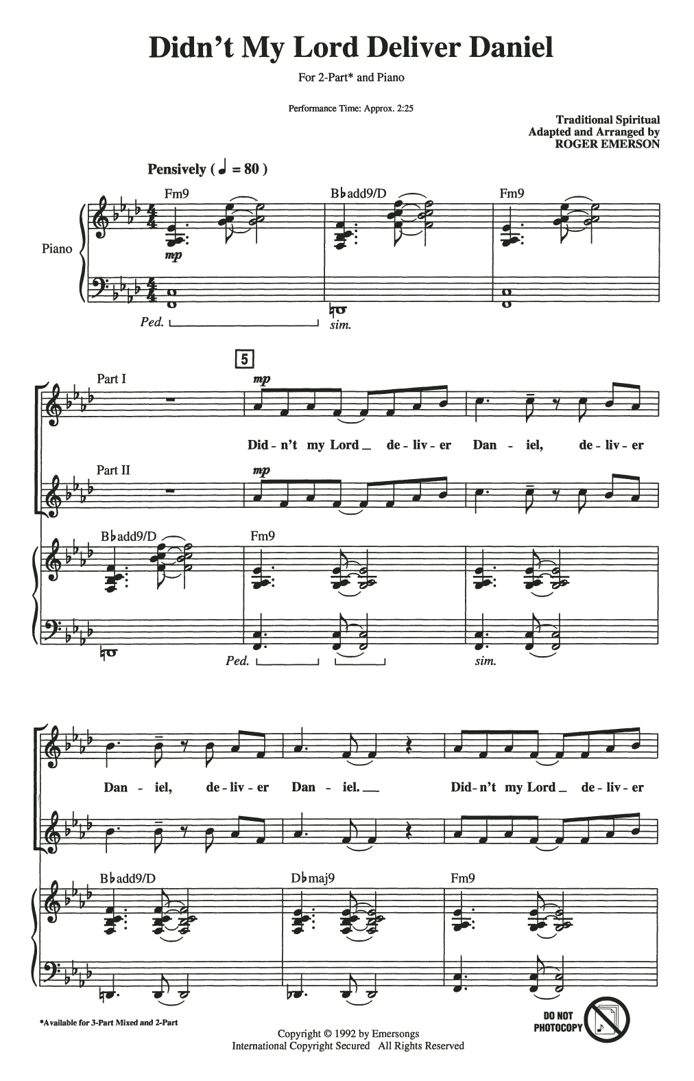 Didn't My Lord Deliver Daniel (arr. Roger Emerson) (2-Part Choir)