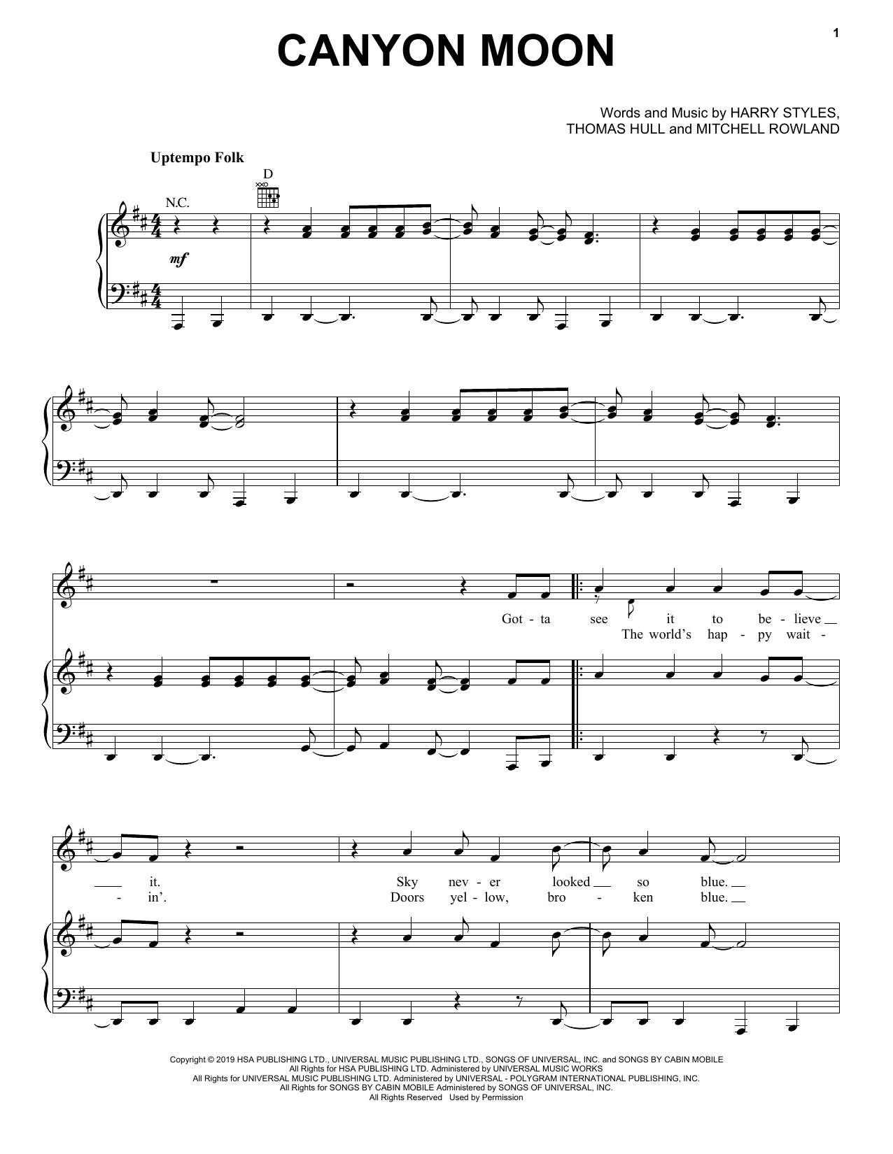 Canyon Moon (Piano, Vocal & Guitar (Right-Hand Melody))