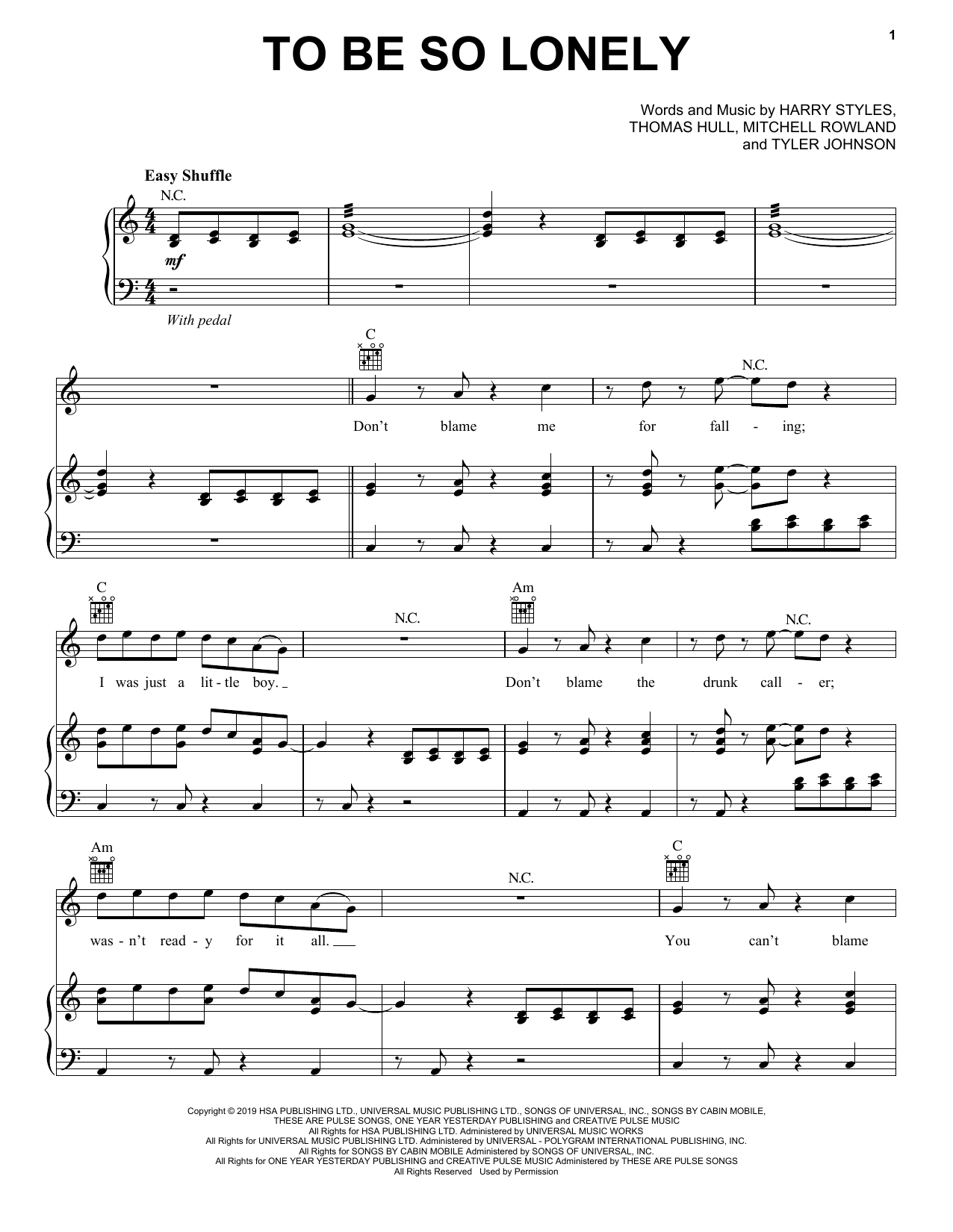 To Be So Lonely (Piano, Vocal & Guitar (Right-Hand Melody))