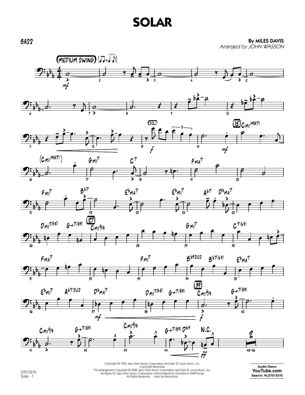 Solar (arr. John Wasson) - Bass Sheet Music