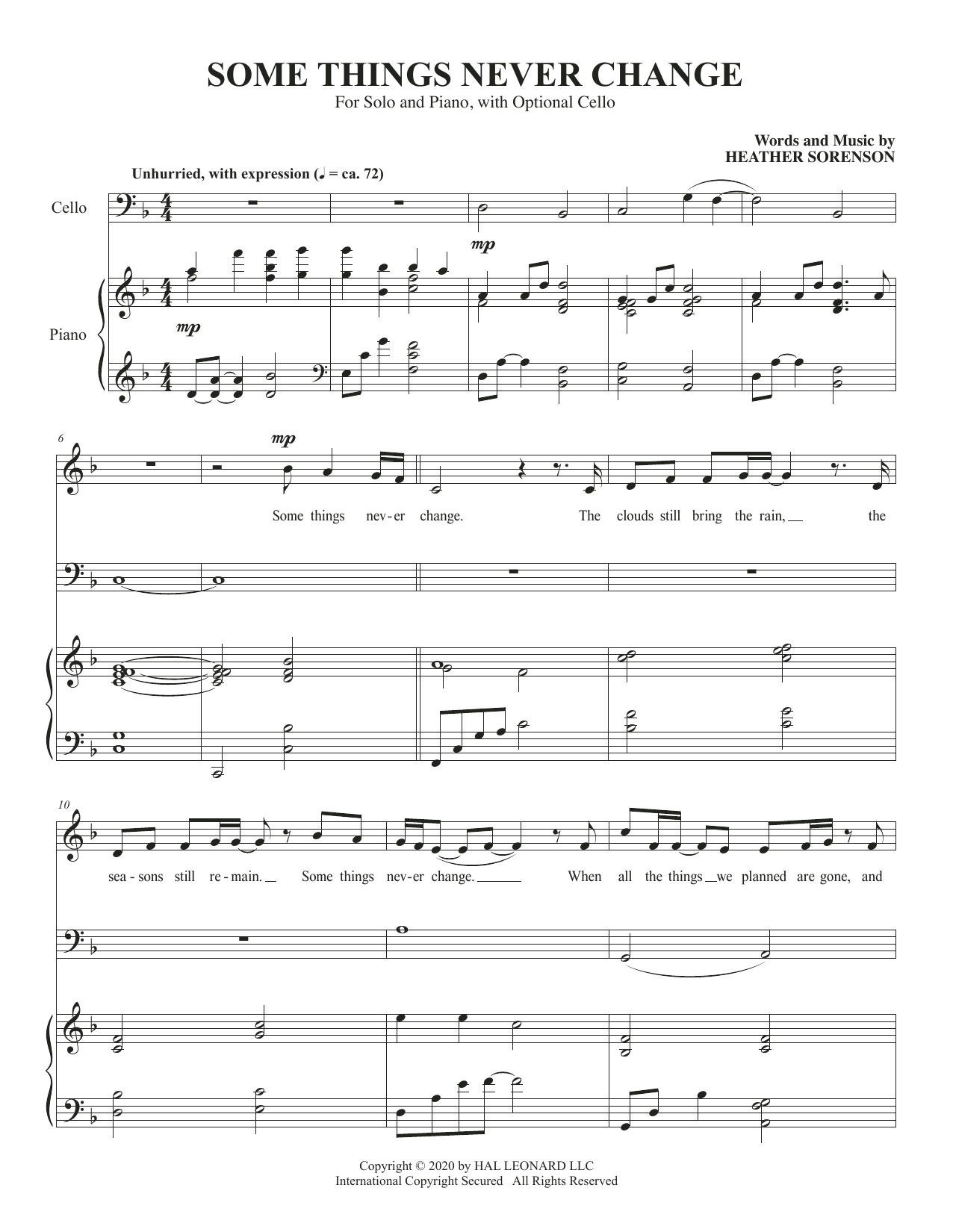 Some Things Never Change (for High Voice and Cello) Sheet Music