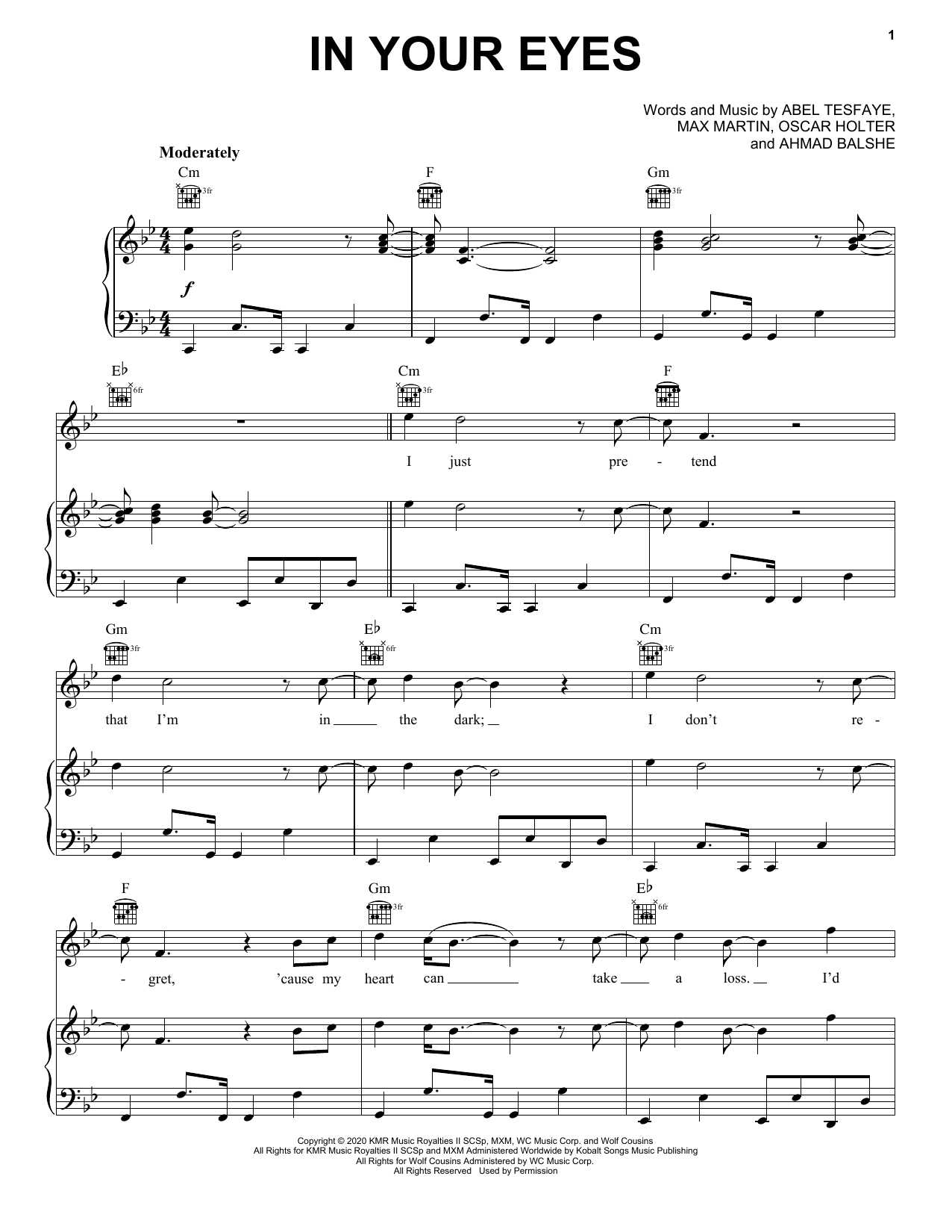 In Your Eyes (Piano, Vocal & Guitar (Right-Hand Melody))