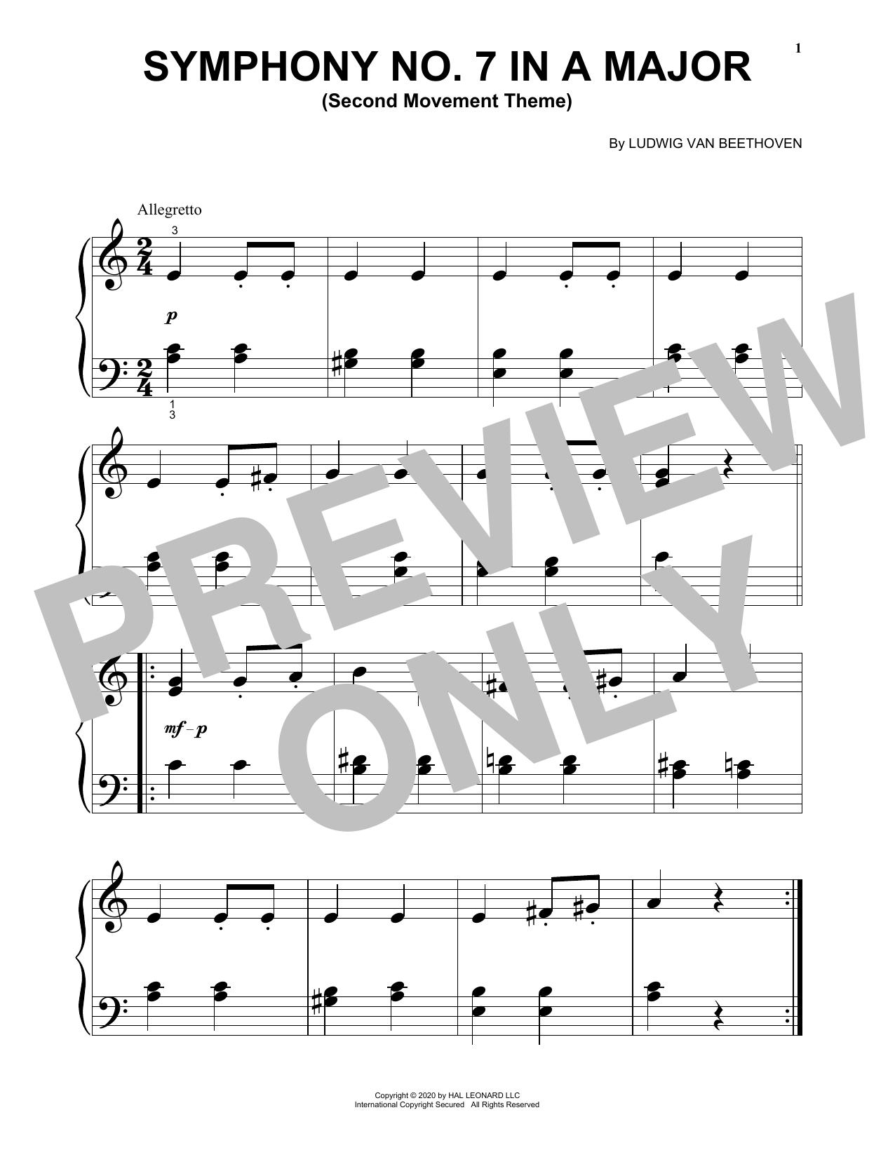 Symphony No. 7 In A Major, Second Movement (Allegretto) (Big Note Piano)