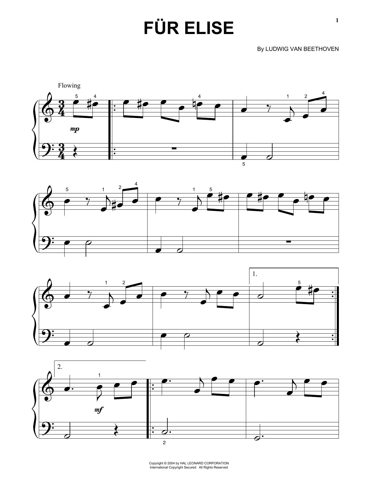 Fur Elise, WoO 59 (Big Note Piano)