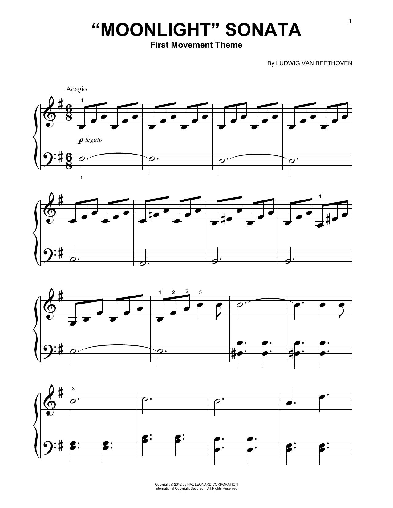 "Piano Sonata No. 14 In C# Minor (""Moonlight"") Op. 27, No. 2, First Movement Theme (Big Note Piano)"