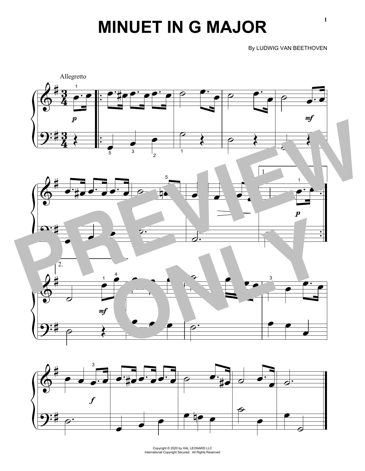 Minuet In G Major (Big Note Piano)