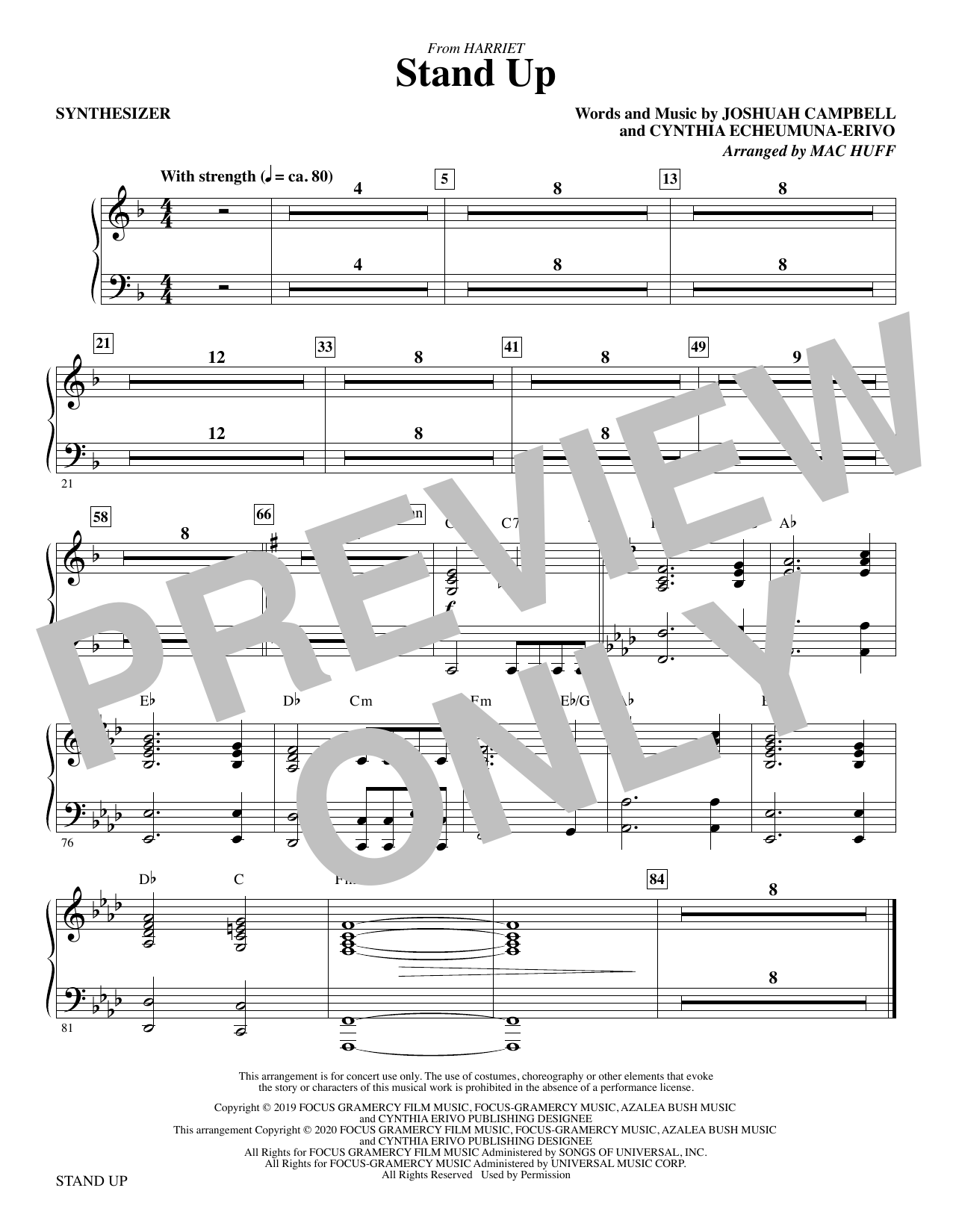 Stand Up (from Harriet) (arr. Mac Huff) - Synthesizer Sheet Music