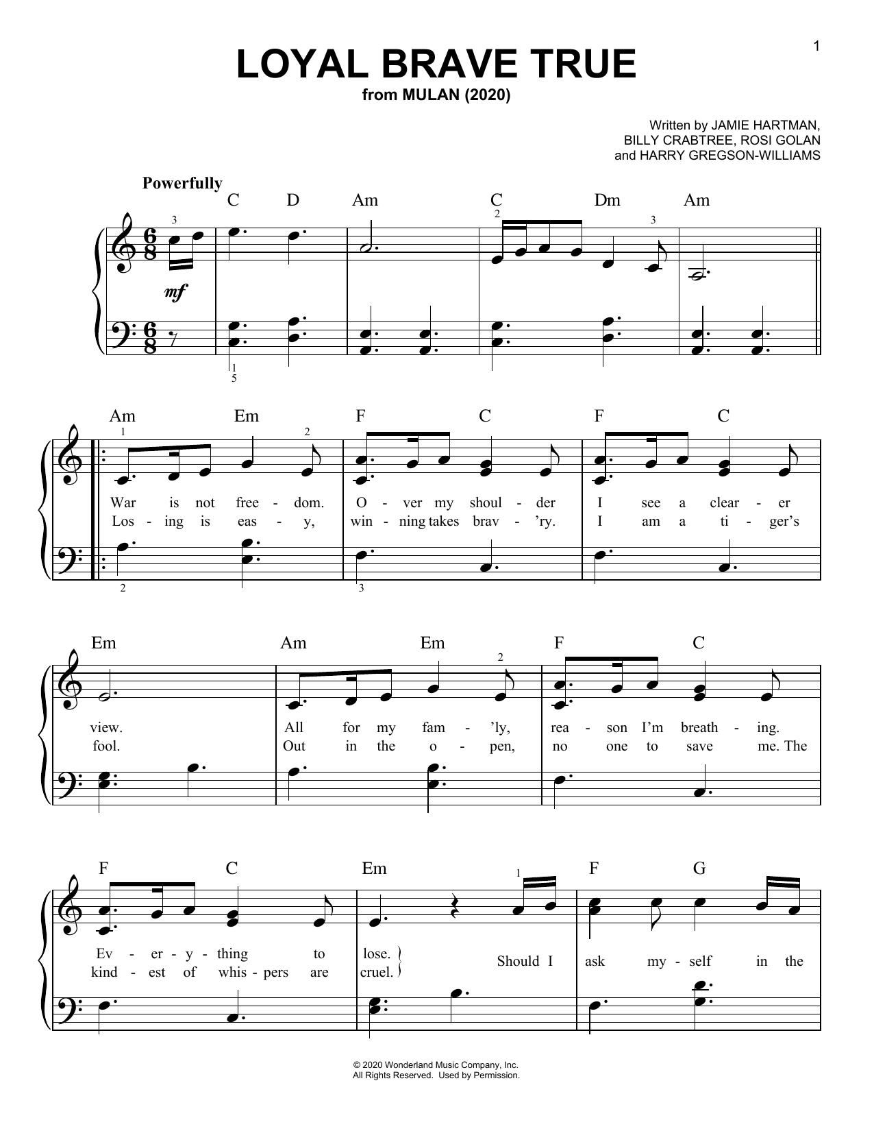Partition piano Loyal Brave True (from Mulan) de Christina Aguilera - Piano Facile