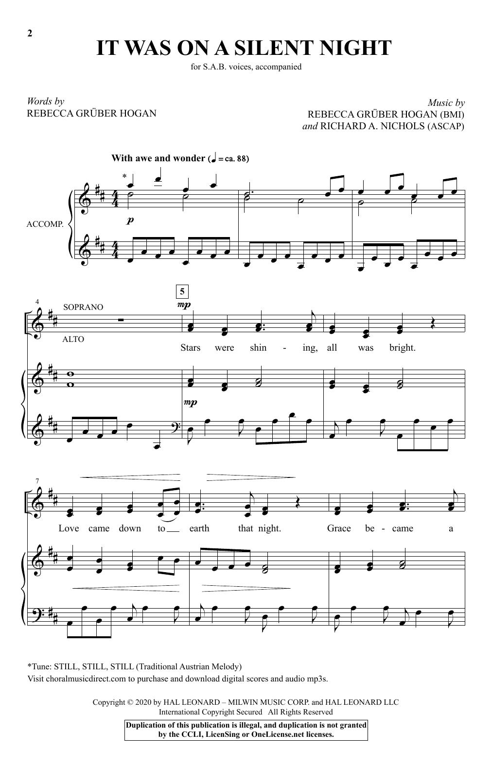 It Was On A Silent Night (SAB Choir)