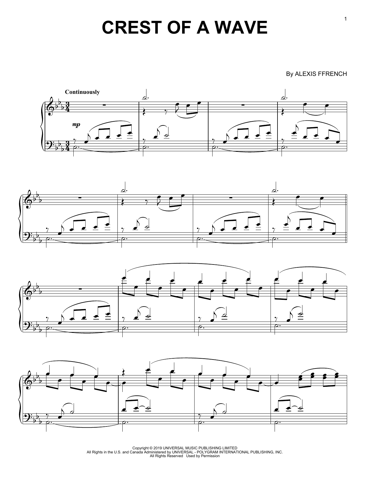 Crest Of A Wave (Piano Solo)
