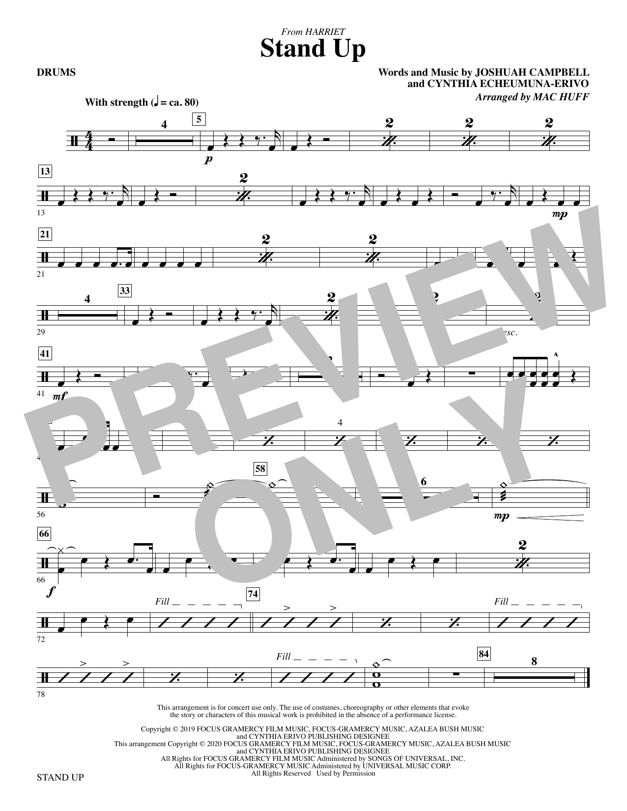 Stand Up (from Harriet) (arr. Mac Huff) - Drums Sheet Music