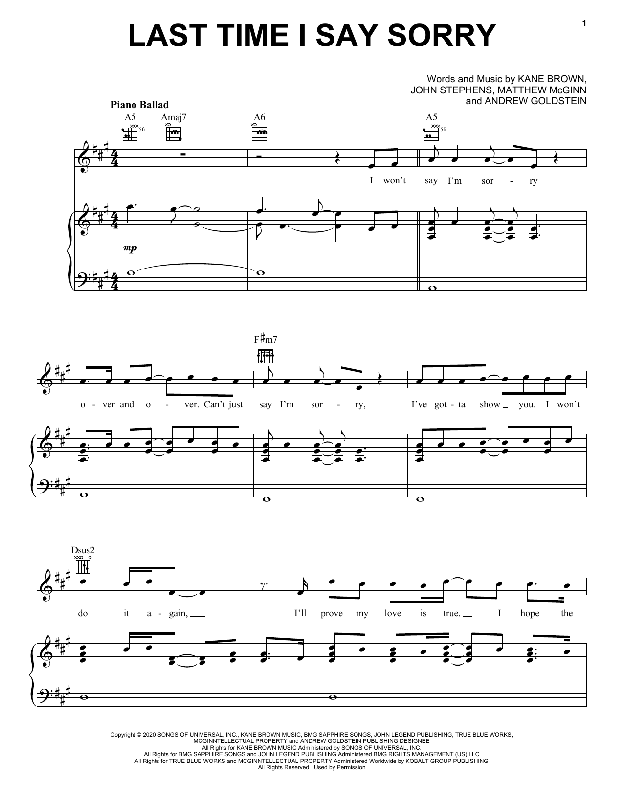 Last Time I Say Sorry (Piano, Vocal & Guitar (Right-Hand Melody))
