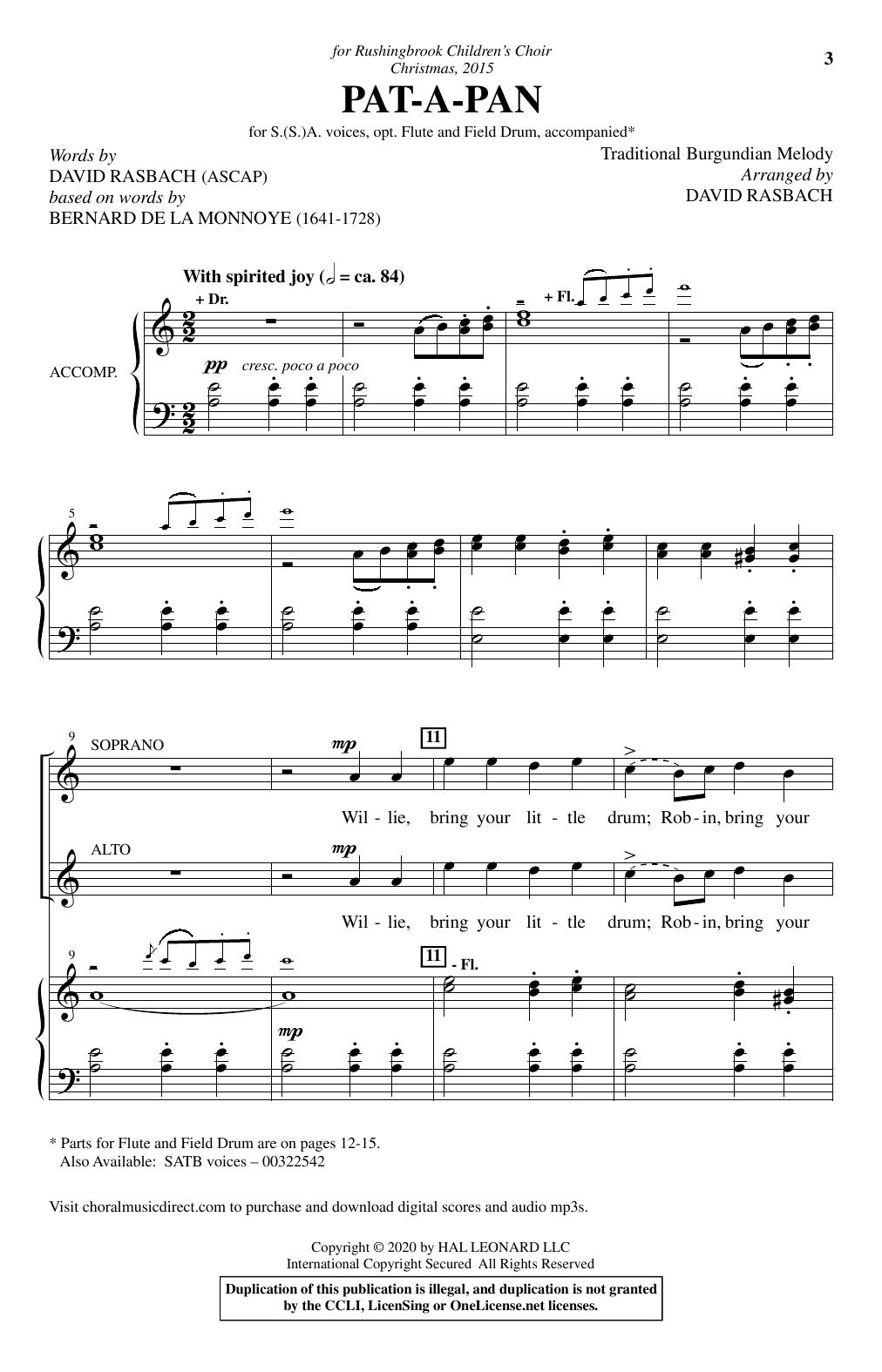 Pat-A-Pan (arr. David Rasbach) Sheet Music