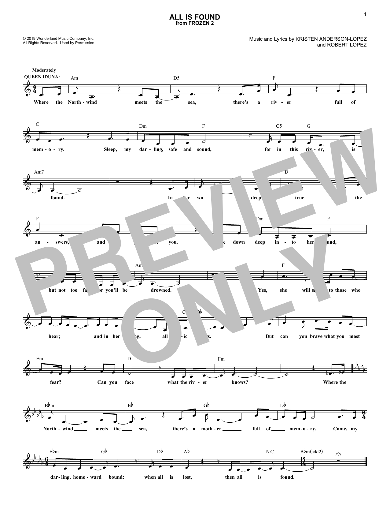 All Is Found (from Disney's Frozen 2) (Lead Sheet / Fake Book)