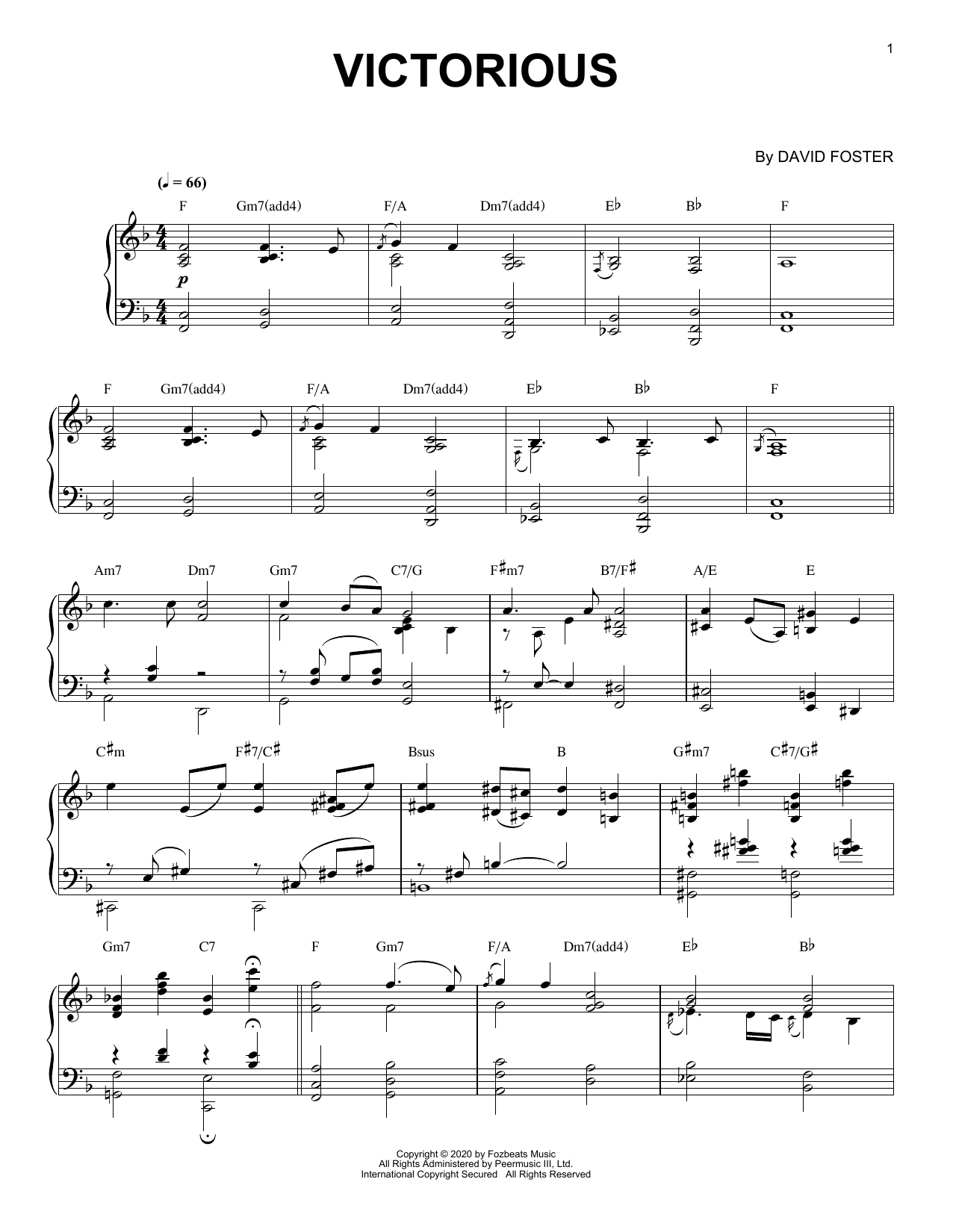 Victorious Sheet Music David Foster Piano Solo