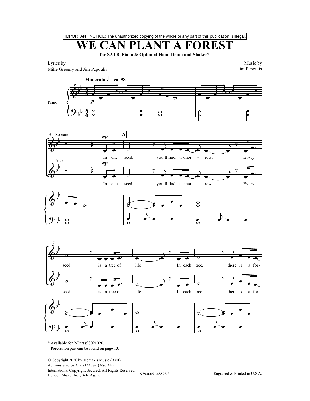 We Can Plant A Forest Sheet Music