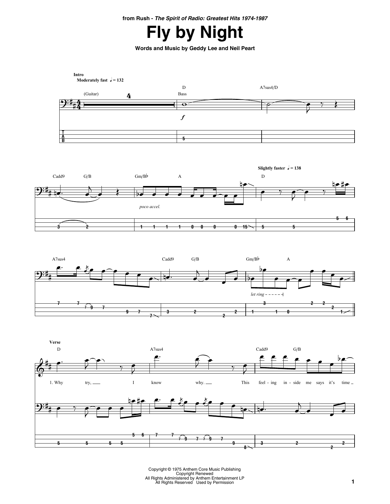 Fly By Night Sheet Music
