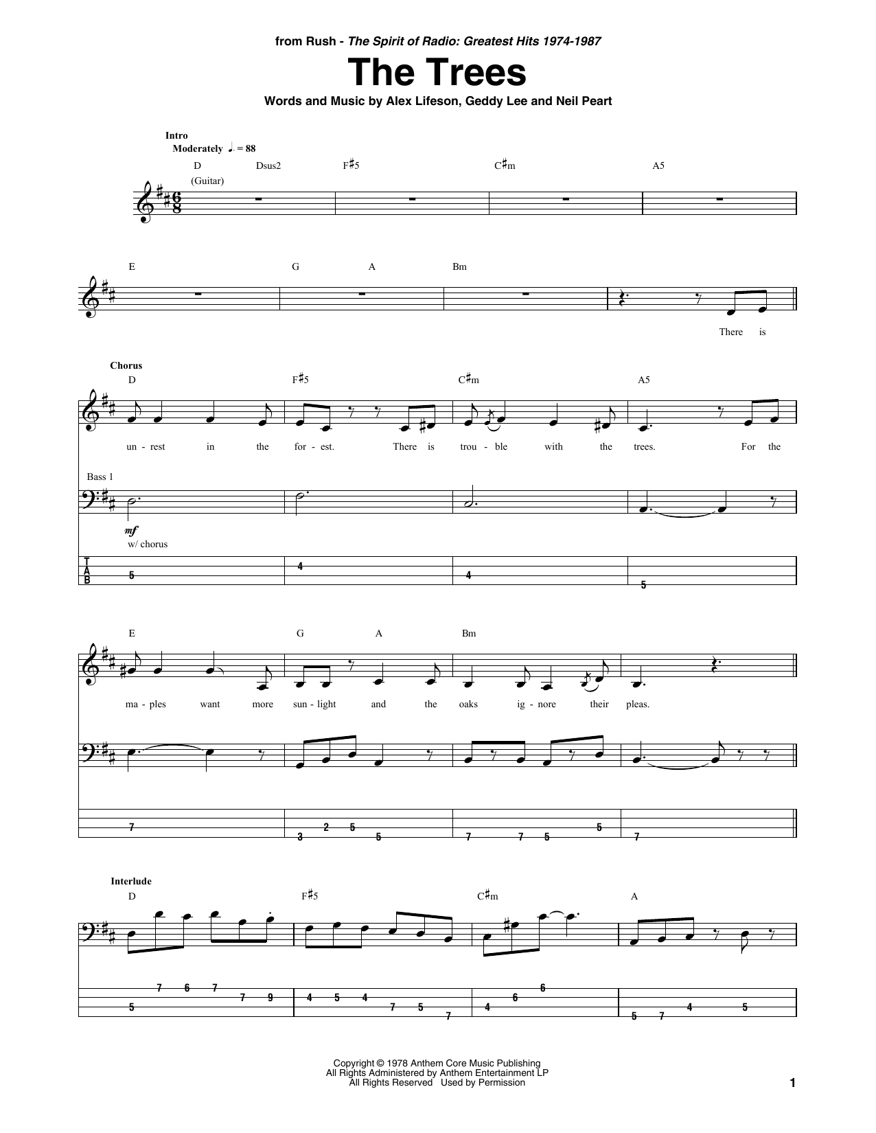 The Trees Sheet Music