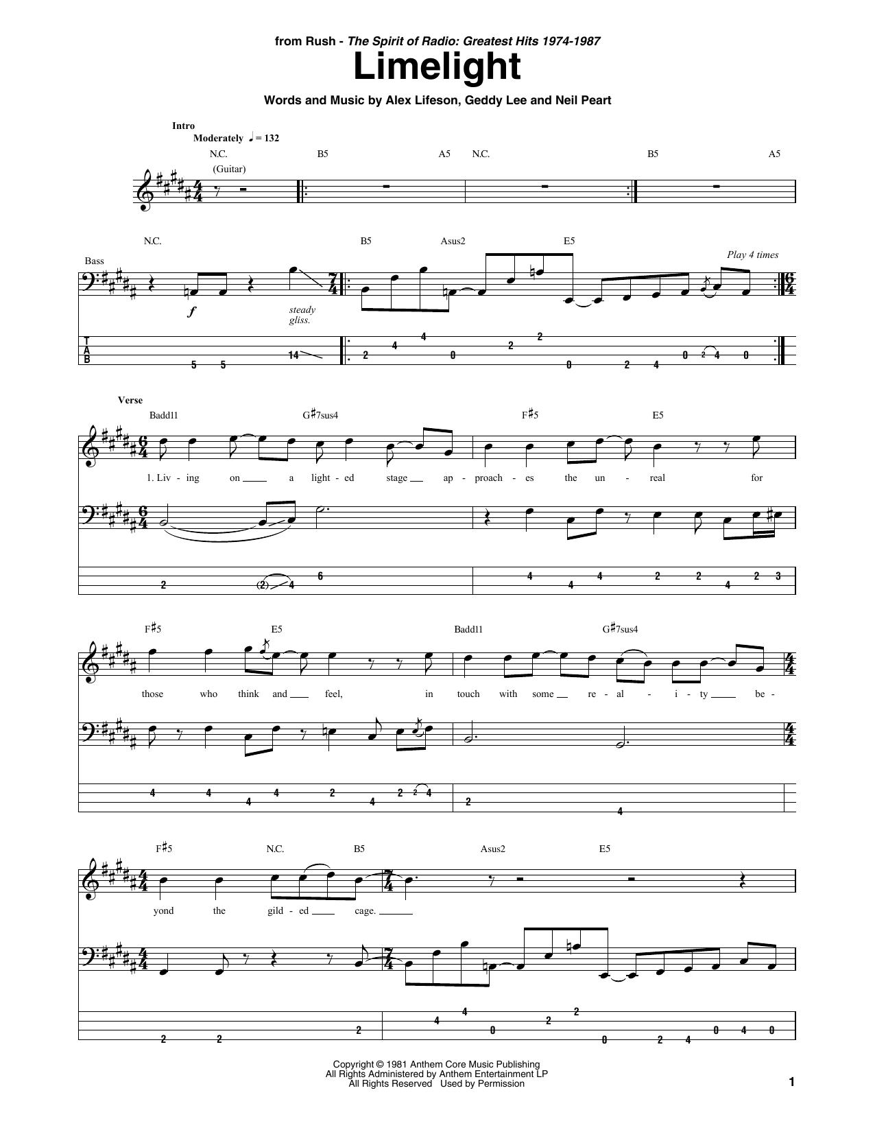 Limelight (Bass Guitar Tab)