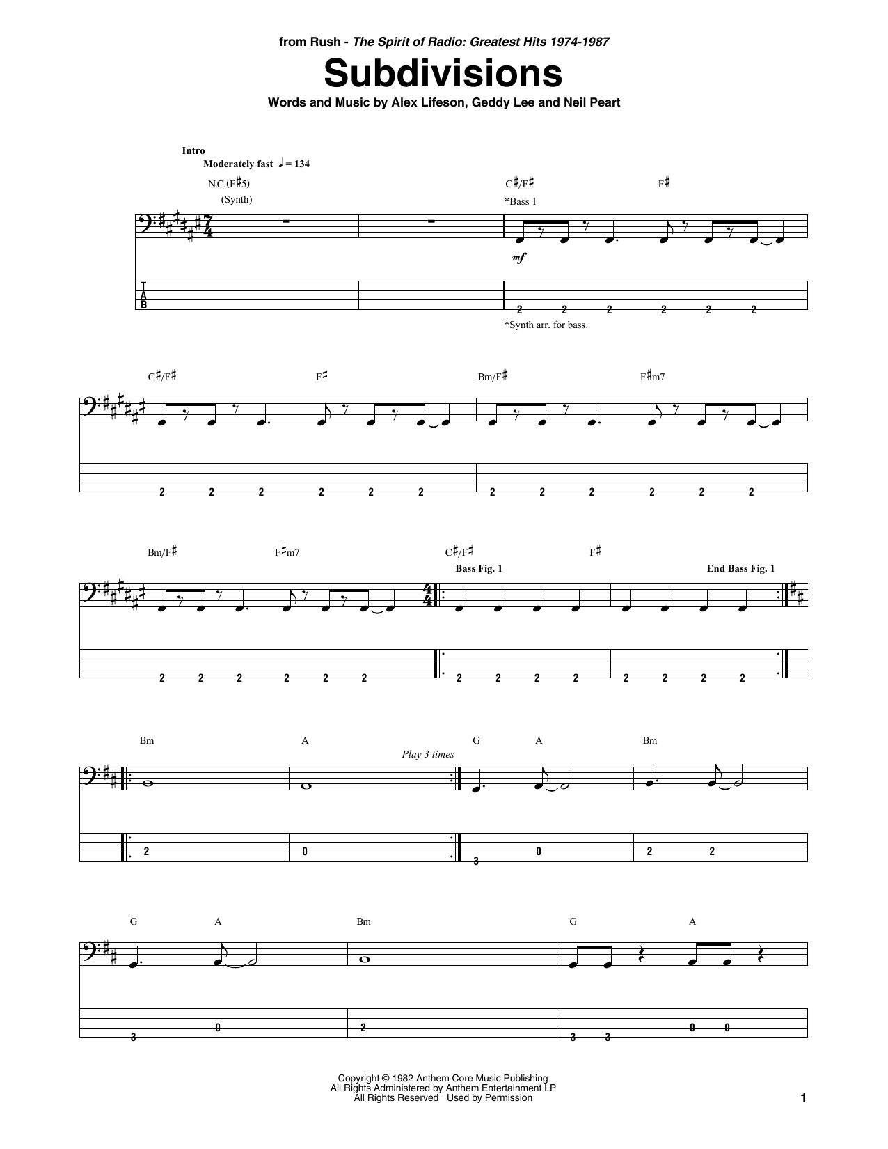 Subdivisions Sheet Music