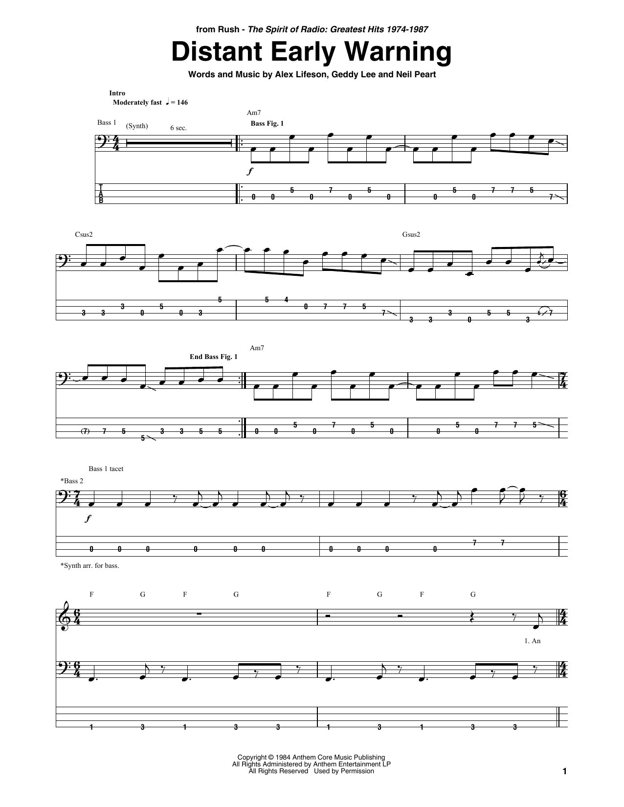 Distant Early Warning (Bass Guitar Tab)