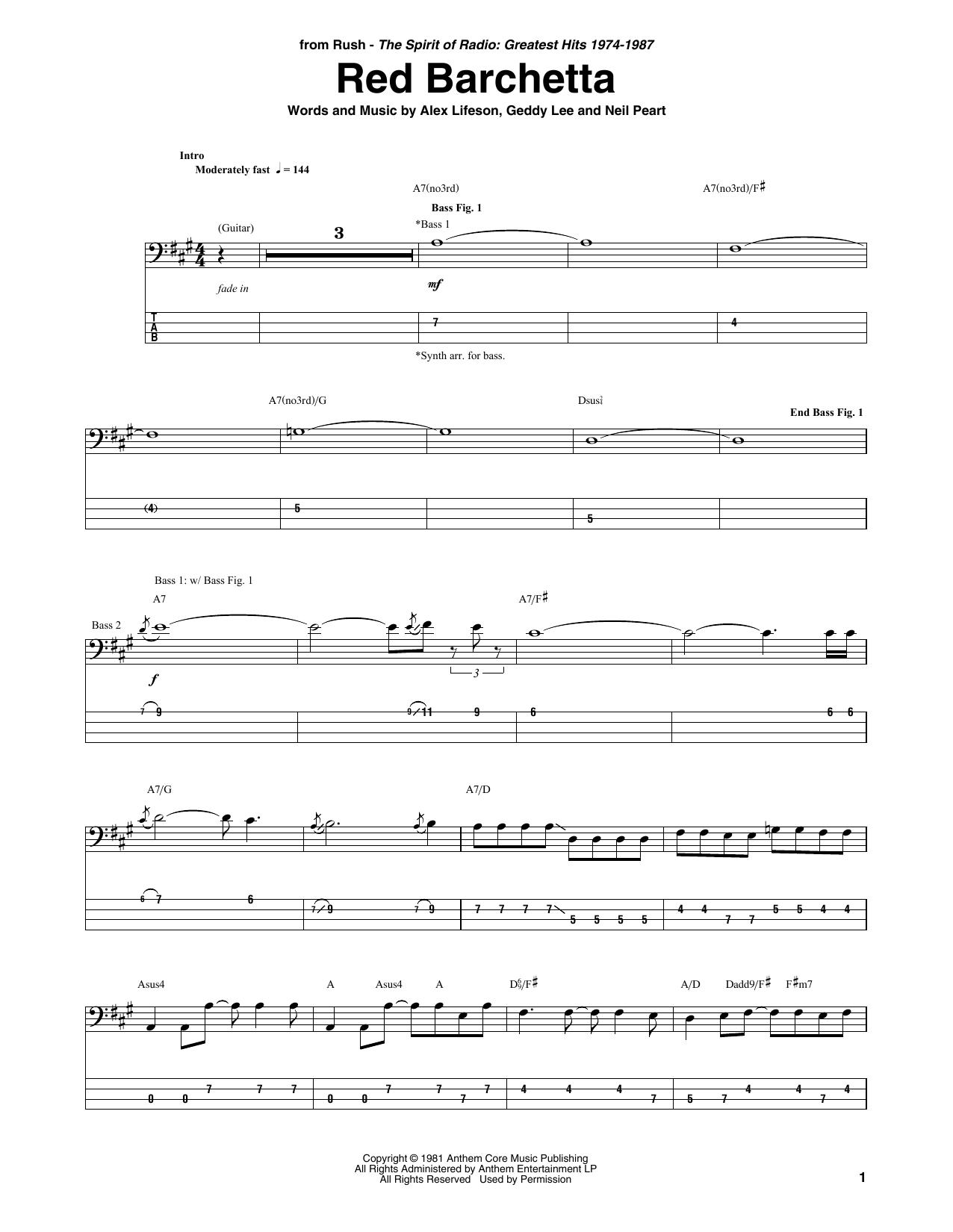 Red Barchetta (Bass Guitar Tab)