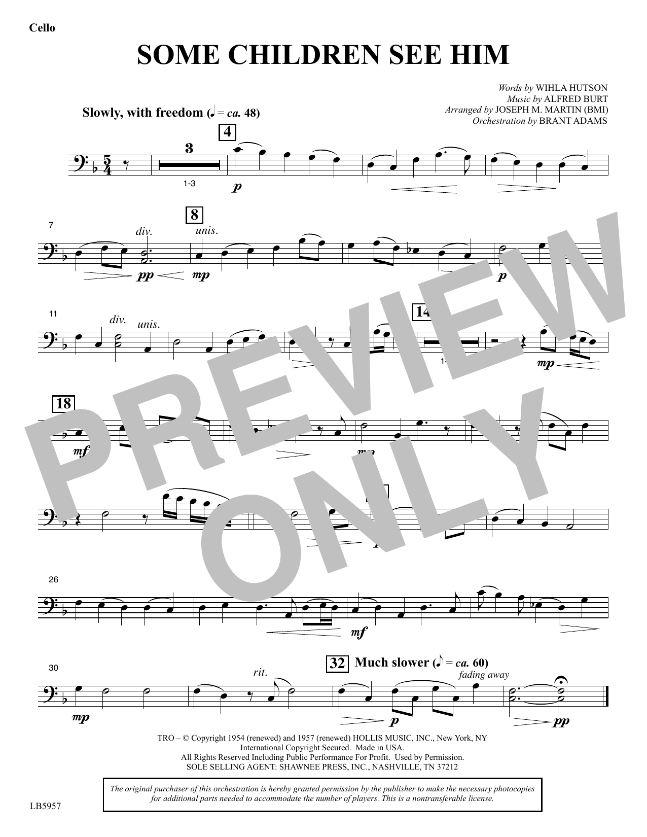 Some Children See Him (arr. Joseph M. Martin) - Cello Sheet Music
