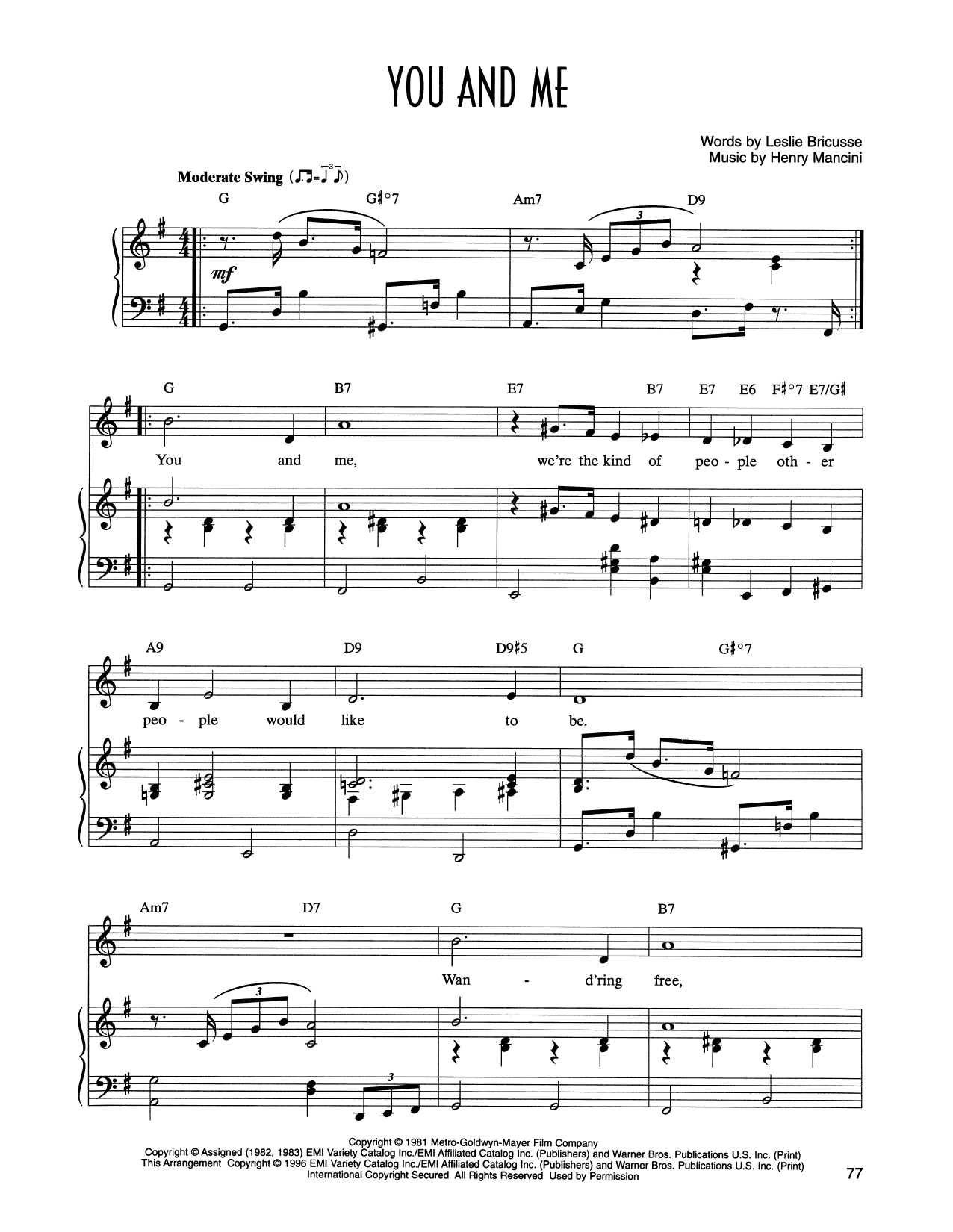 You And Me (from Victor/Victoria) (Piano & Vocal)