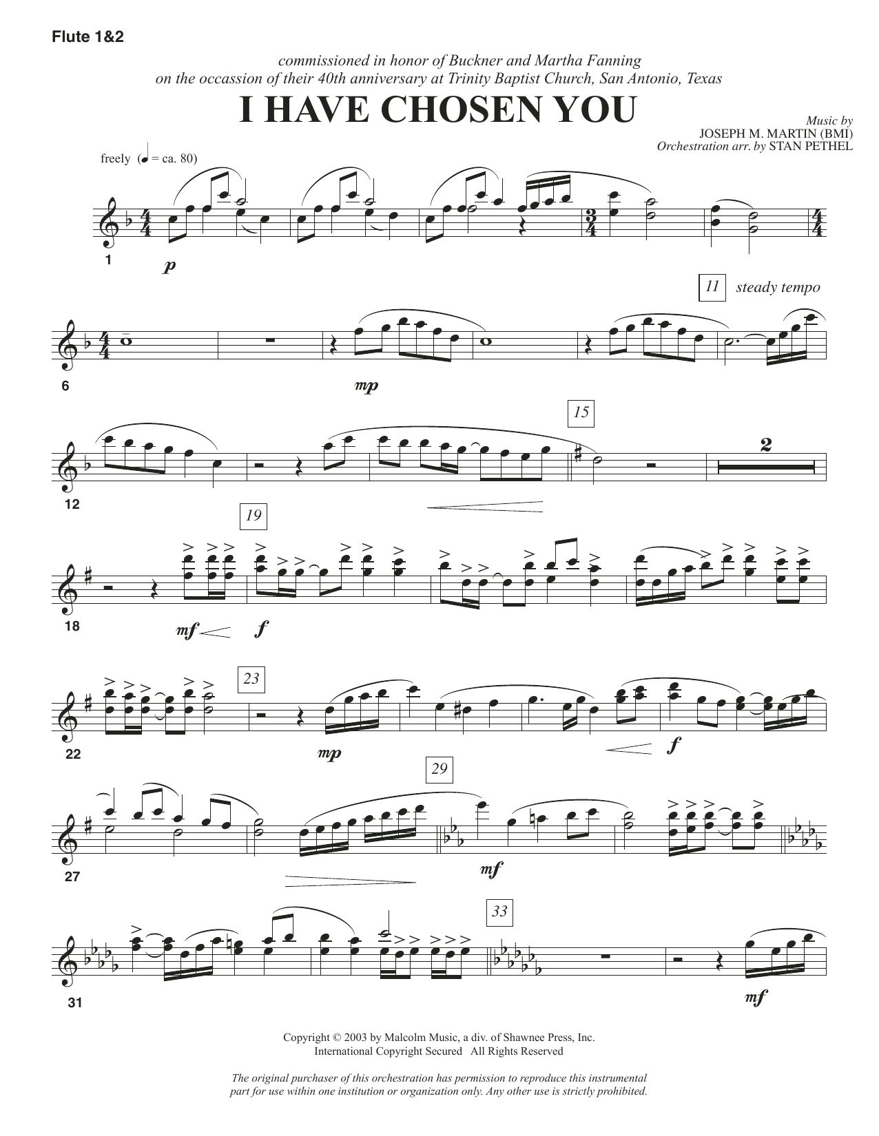 I Have Chosen You - Flute 1 & 2 Sheet Music