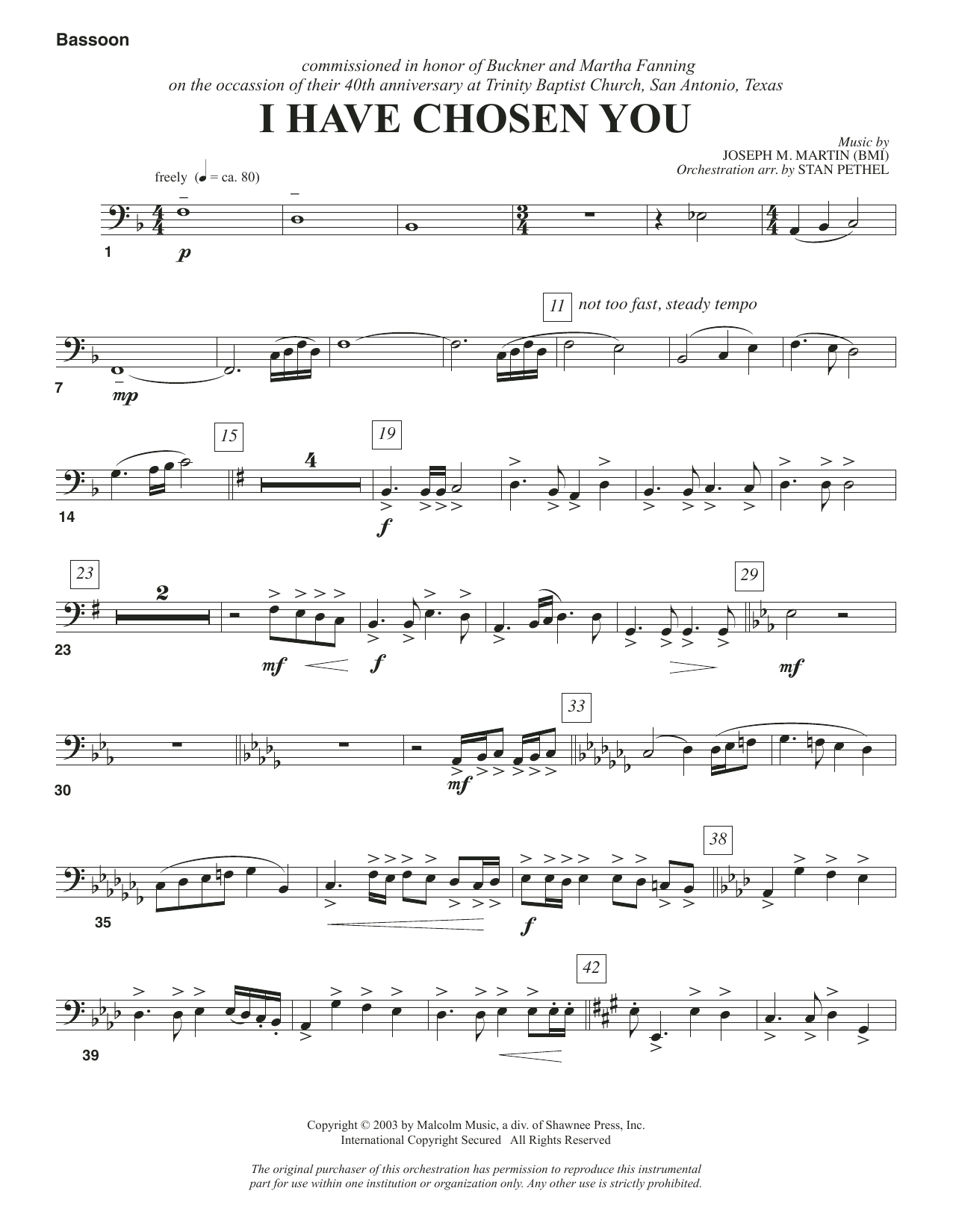 I Have Chosen You - Bassoon Sheet Music