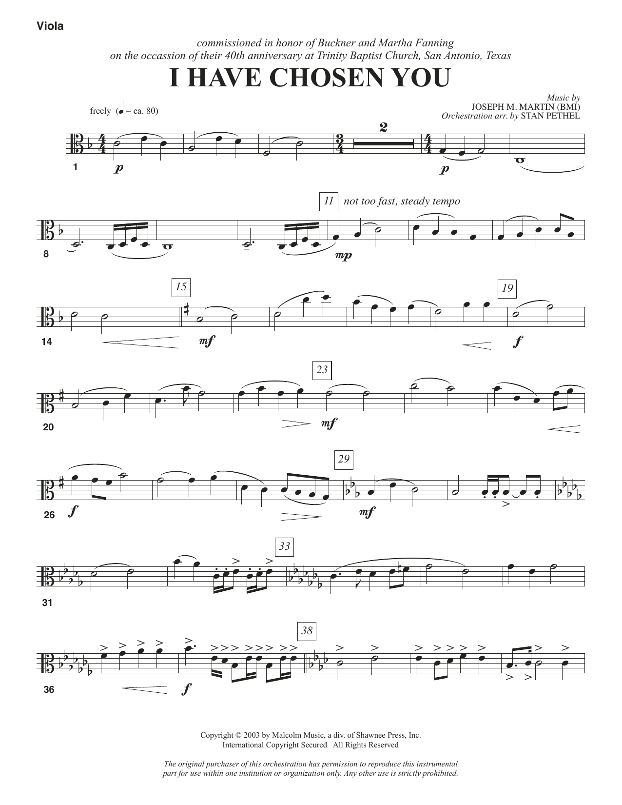 I Have Chosen You - Viola Sheet Music