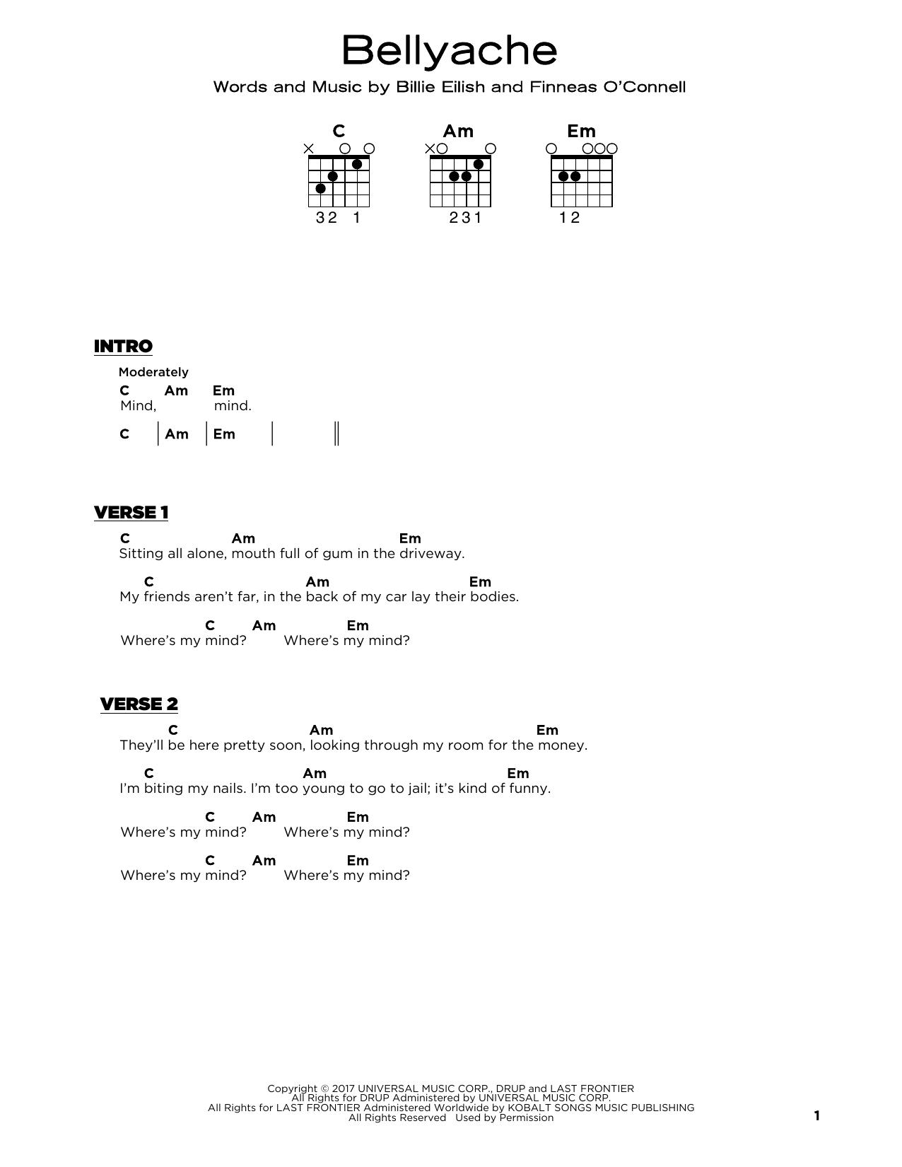 bellyache (Really Easy Guitar)