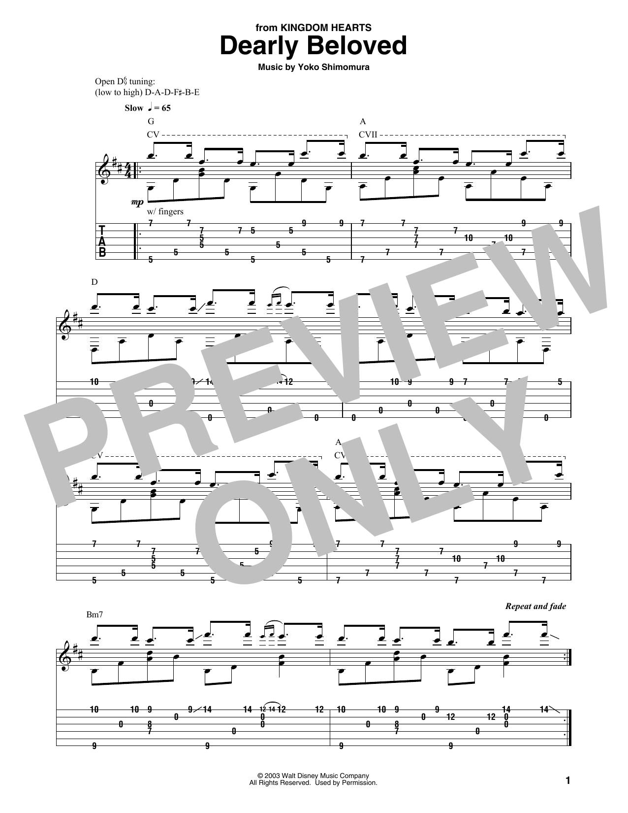 Dearly Beloved (from Kingdom Hearts) (Solo Guitar Tab)