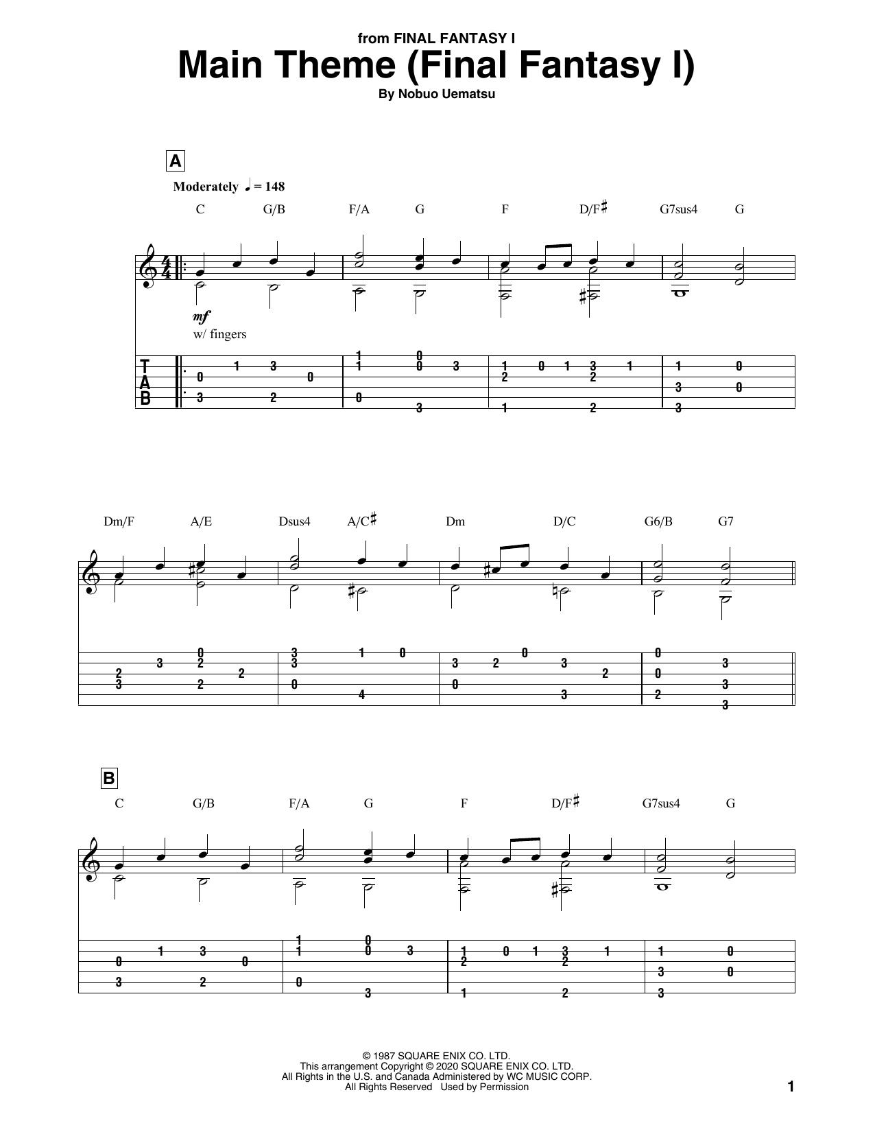 Main Theme (Final Fantasy I) (Solo Guitar Tab)